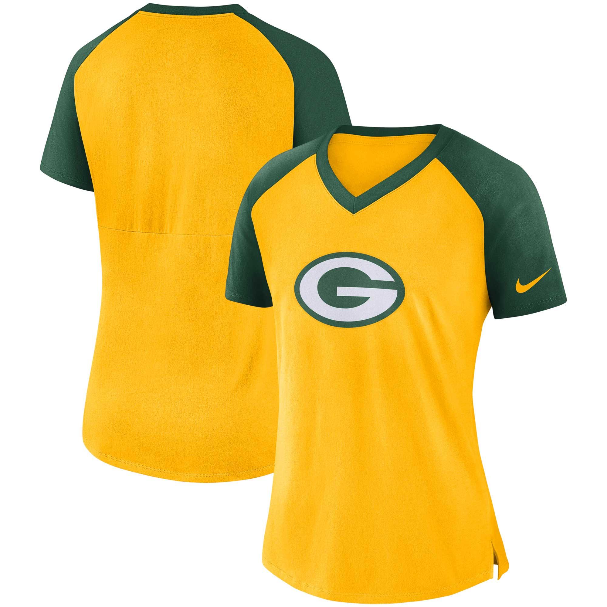 Green Bay Packers Nike Women's Top V-Neck T-Shirt - Gold/Green