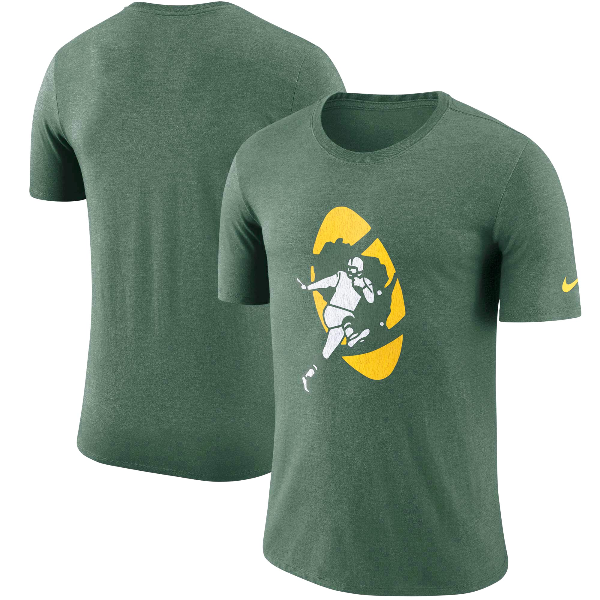 Green Bay Packers Nike Historic Tri-Blend Crackle T-Shirt - Heathered Green