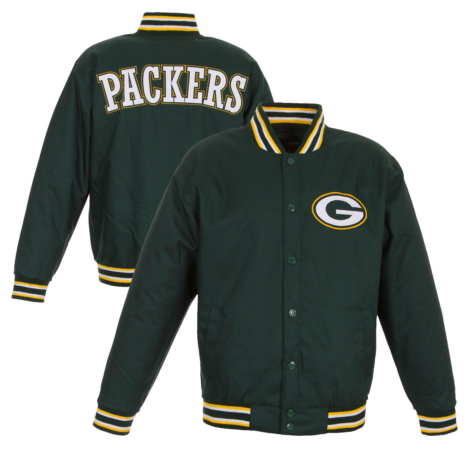 Green Bay Packers JH Design Poly Twill Varsity Jacket - Green