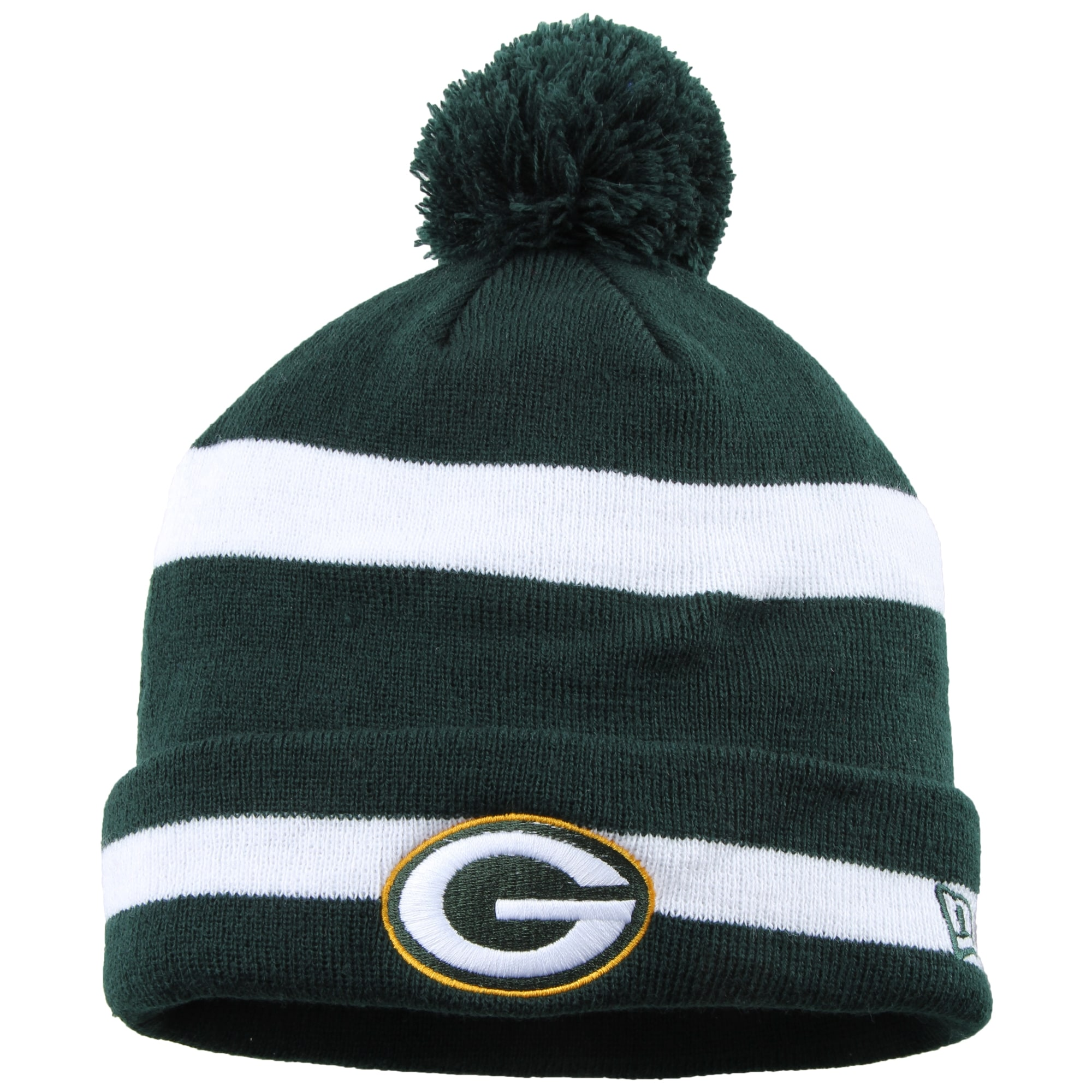 Green Bay Packers New Era Legacy 2-Tone Stripe Cuffed Knit Hat with Pom - Green