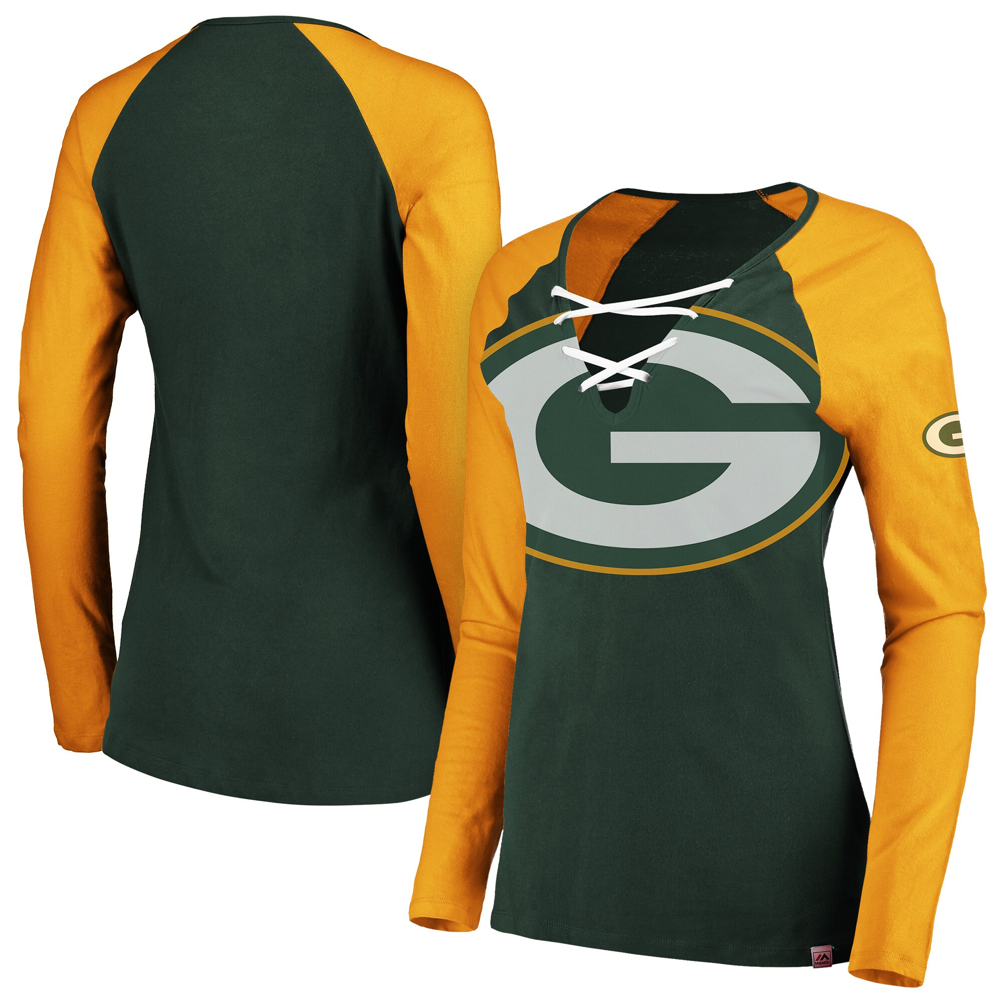 Green Bay Packers Majestic Women's Long Sleeve Lace-Up V-Neck T-Shirt - Green/Gold