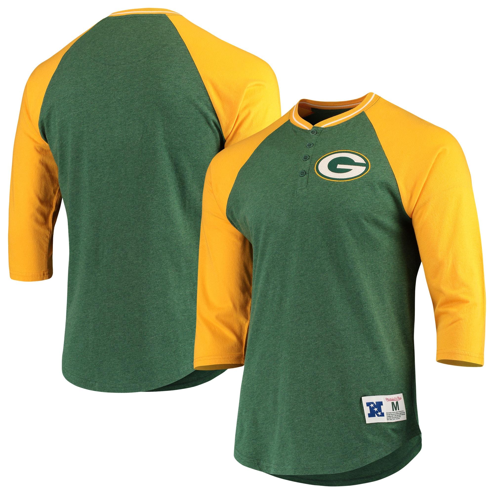 Green Bay Packers Mitchell & Ness 3/4-Sleeve Raglan Henley T-Shirt - Green/Gold