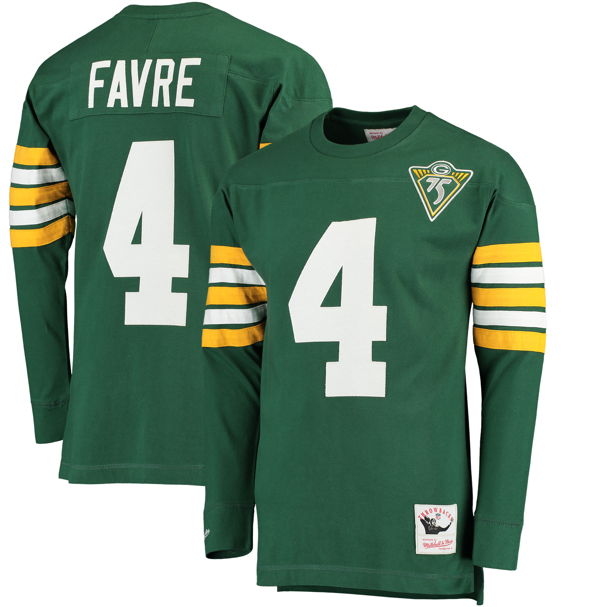 Brett Favre Green Bay Packers Mitchell & Ness Retired Player Name & Number Long Sleeve Top - Green