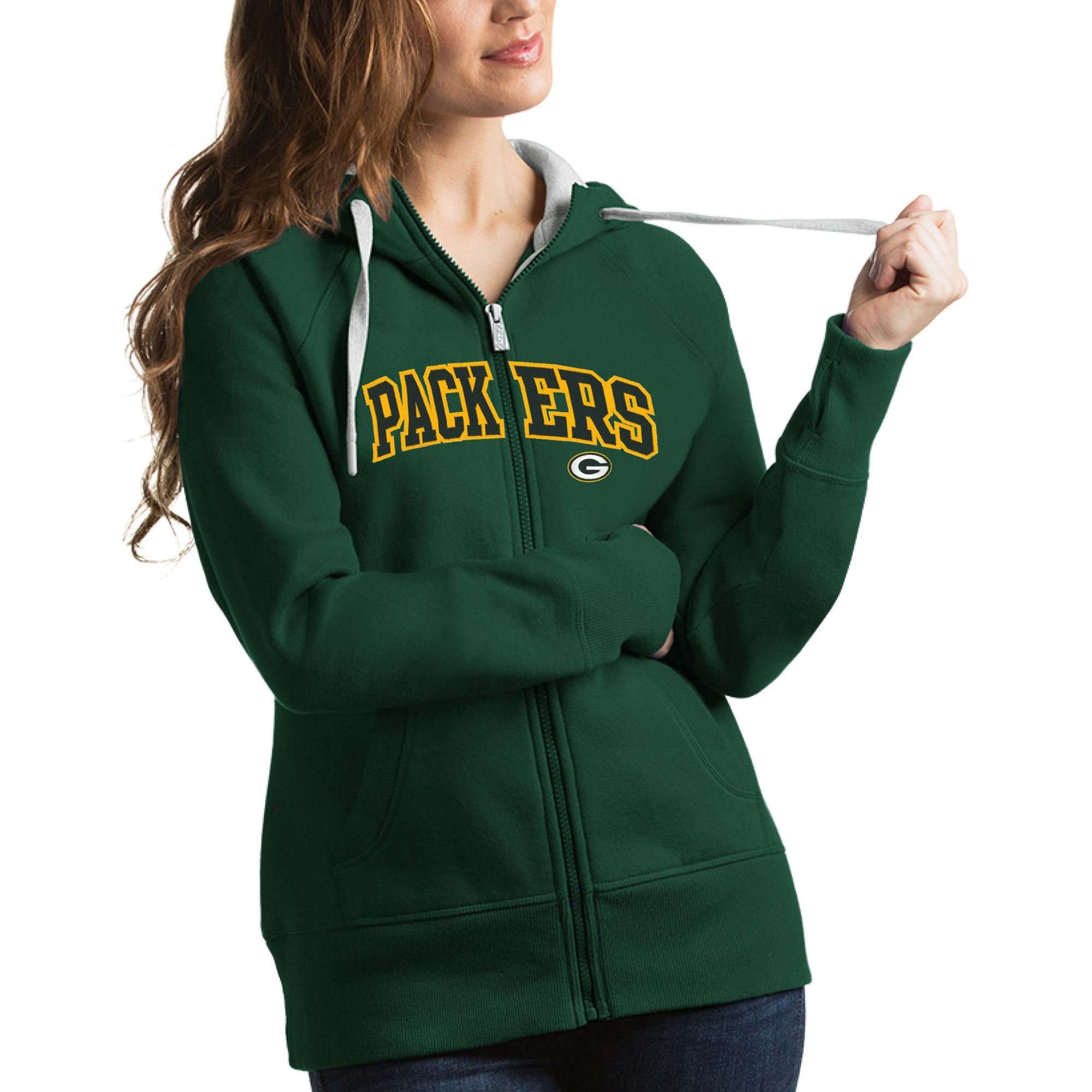 Green Bay Packers Antigua Women's Victory Full-Zip Hoodie - Green
