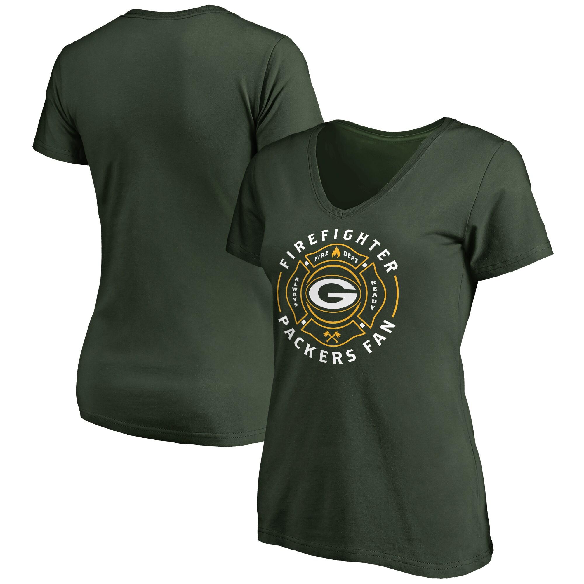 Green Bay Packers NFL Pro Line Women's Firefighter V-Neck T-Shirt - Green