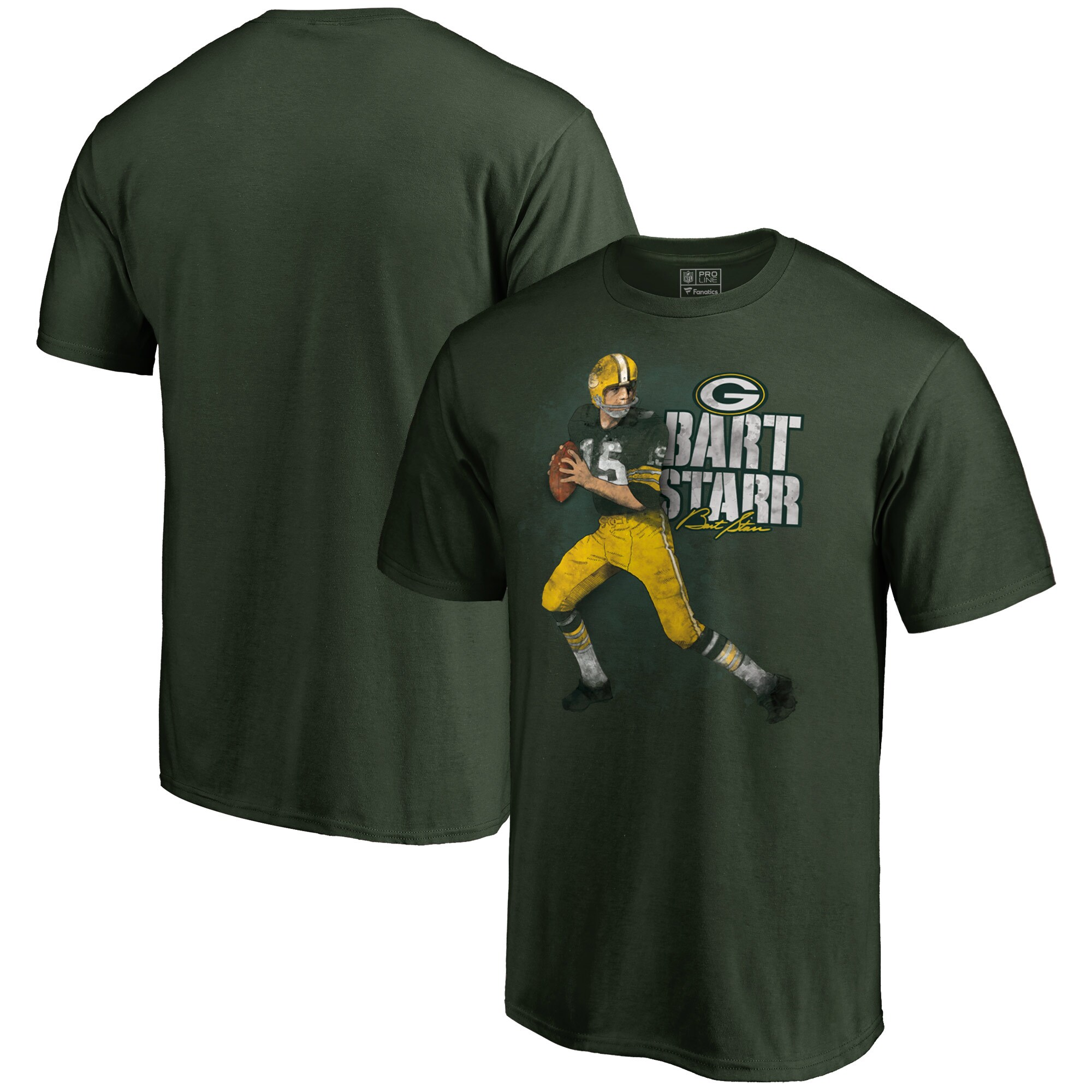 Green Bay Packers Bart Starr NFL Pro Line Retired Player Illustration Name & Number T-Shirt - Green