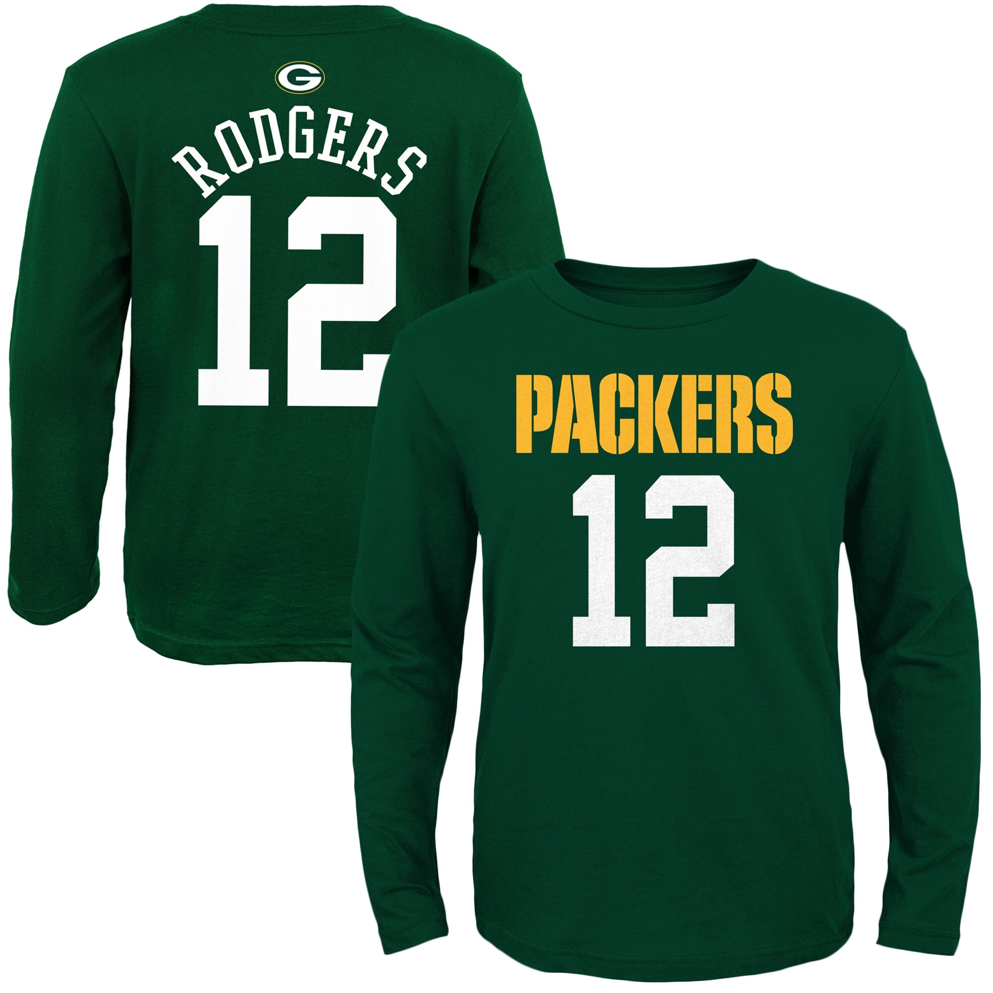Aaron Rodgers Green Bay Packers Youth Primary Gear Name & Number Long Sleeve T-Shirt - Green