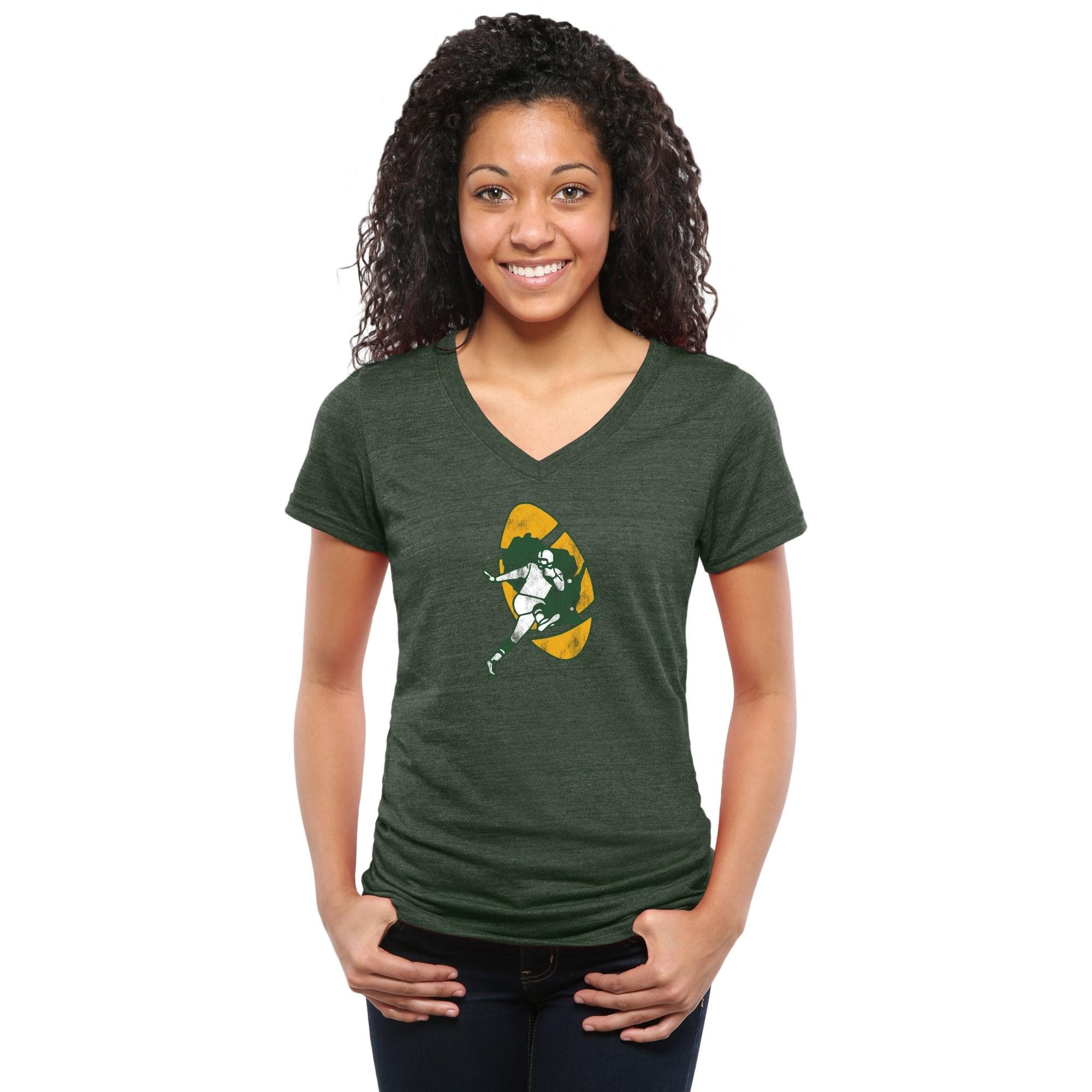 Green Bay Packers NFL Pro Line Women's Throwback Logo Tri-Blend V-Neck T-Shirt - Green