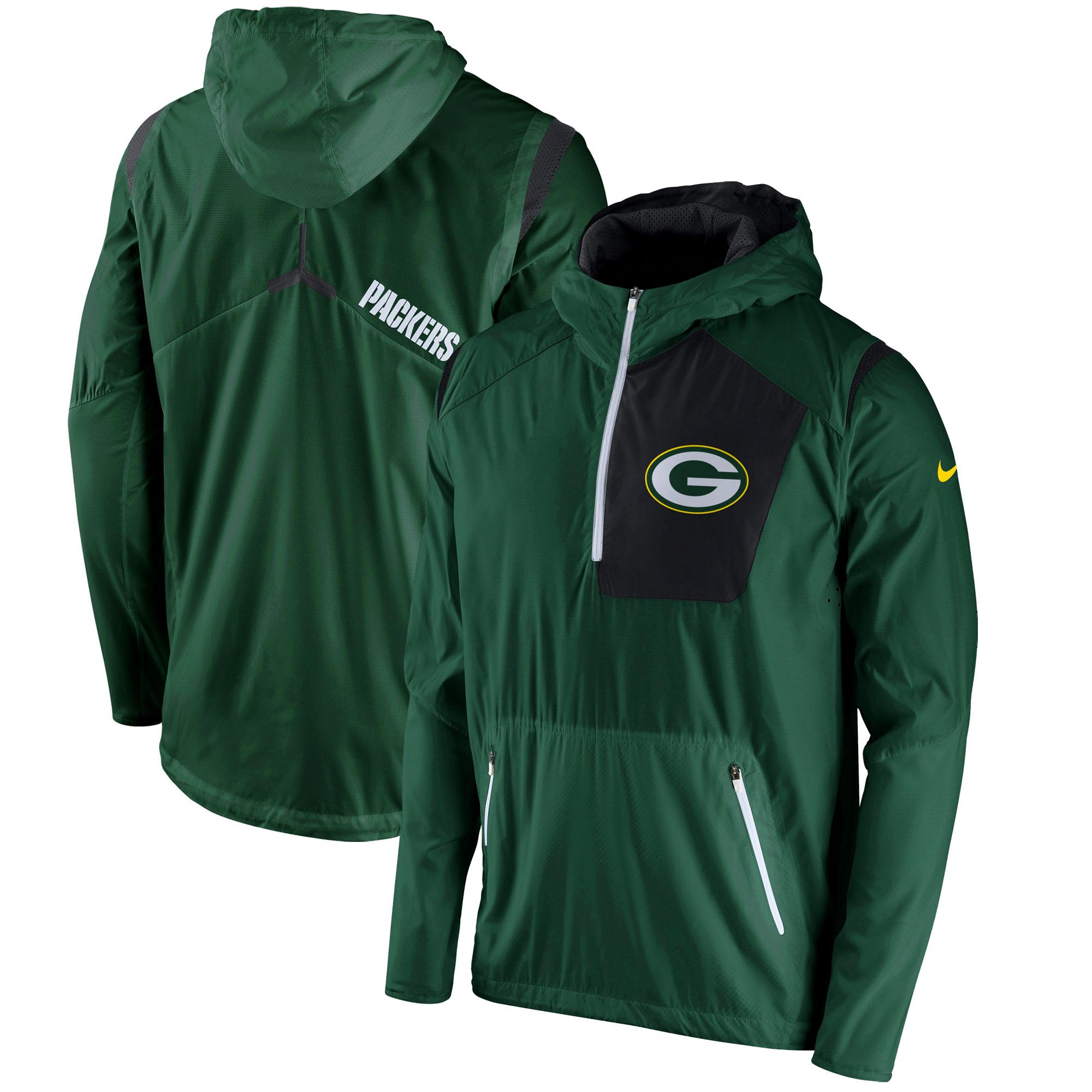 Green Bay Packers Nike Vapor Speed Fly Rush Half-Zip Jacket - Green