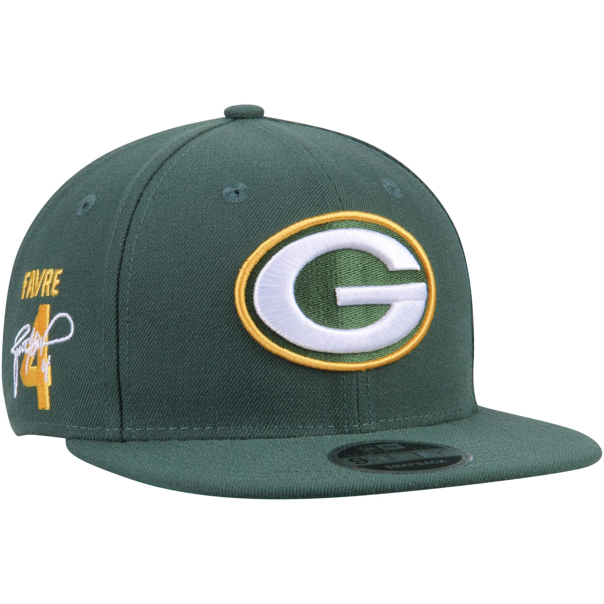 Brett Favre Green Bay Packers New Era Signature Side 9FIFTY Adjustable Snapback Hat - Green