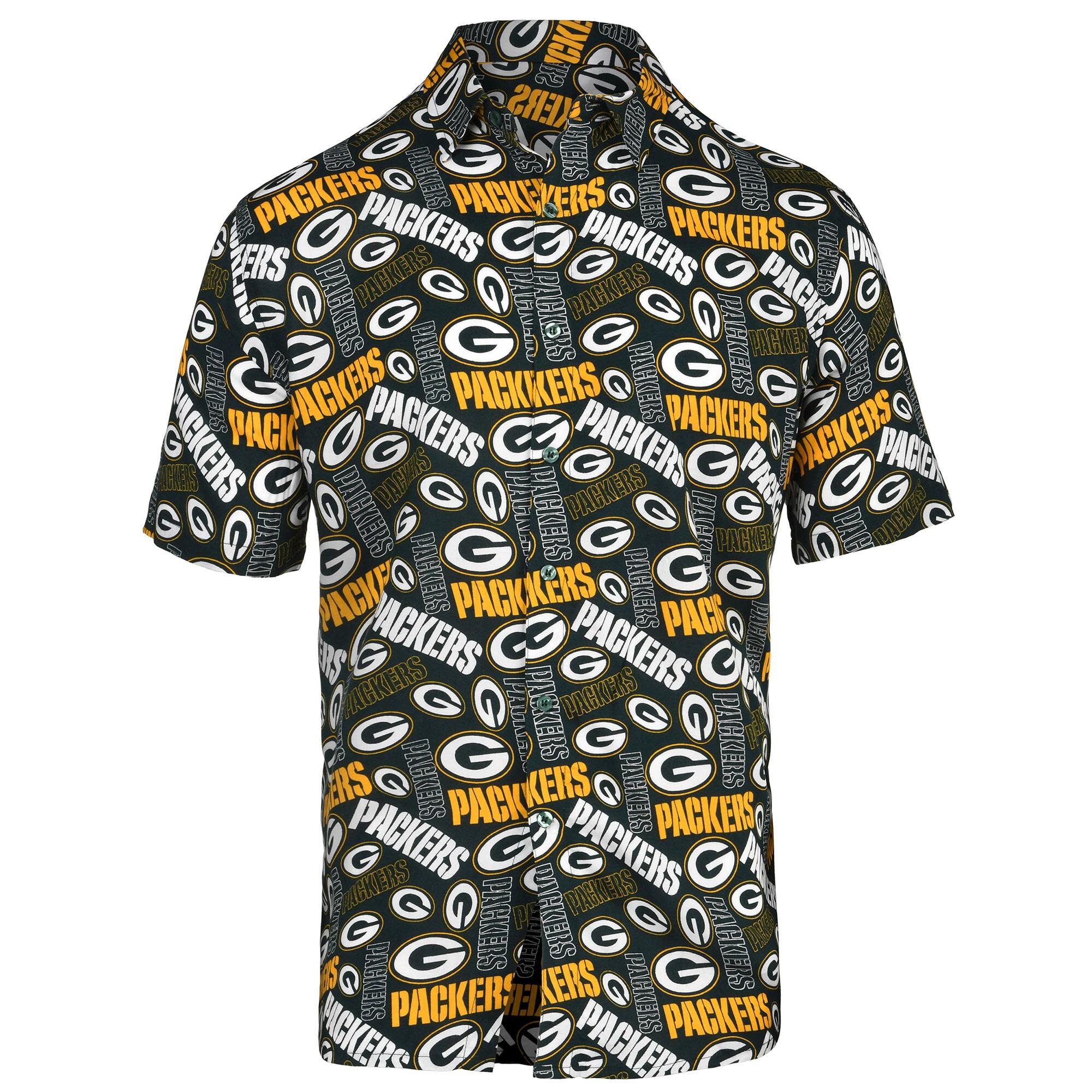 Green Bay Packers Repeat Logo Button-Up Shirt - Green