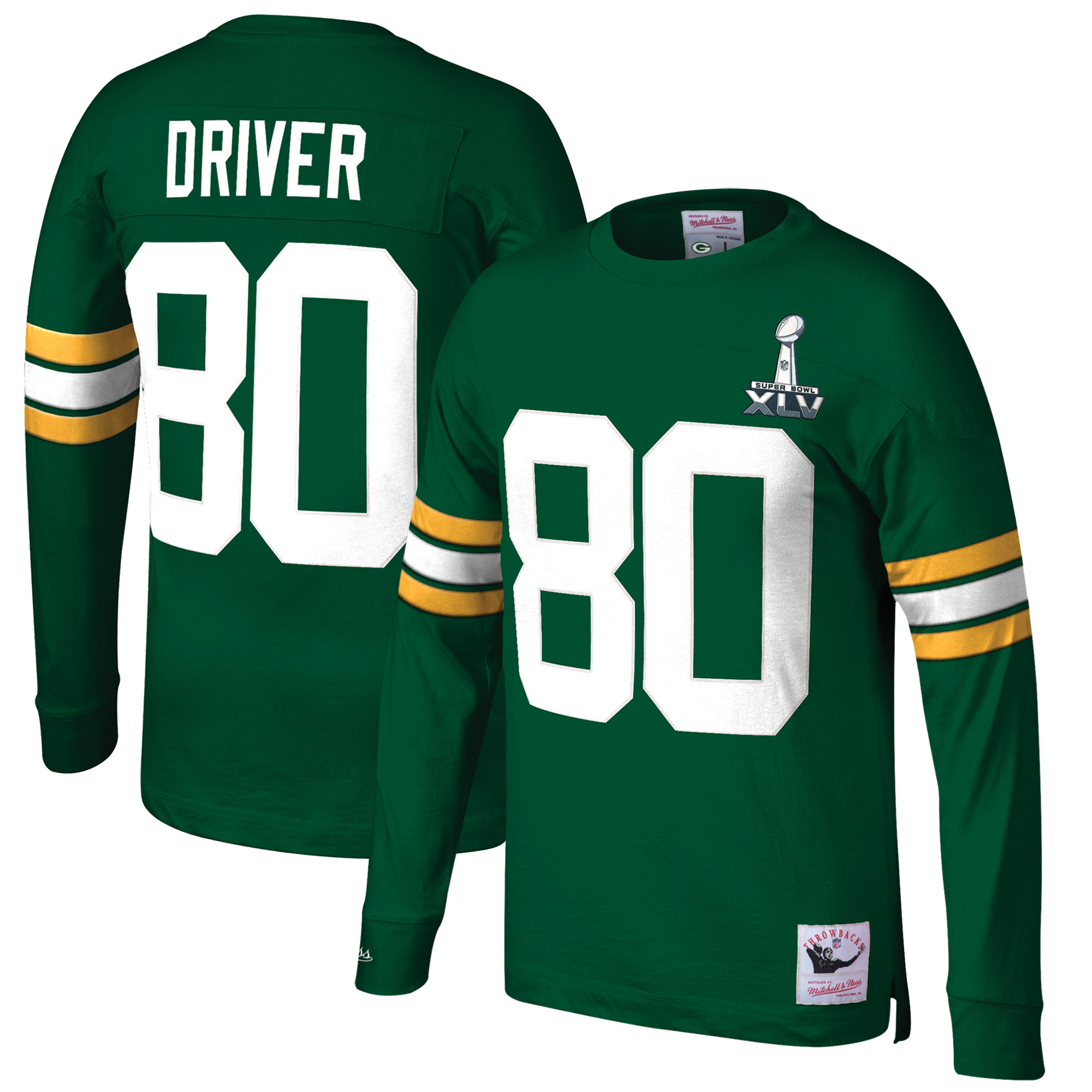 Donald Driver Green Bay Packers Mitchell & Ness Retired Player Name & Number Long Sleeve Top - Green