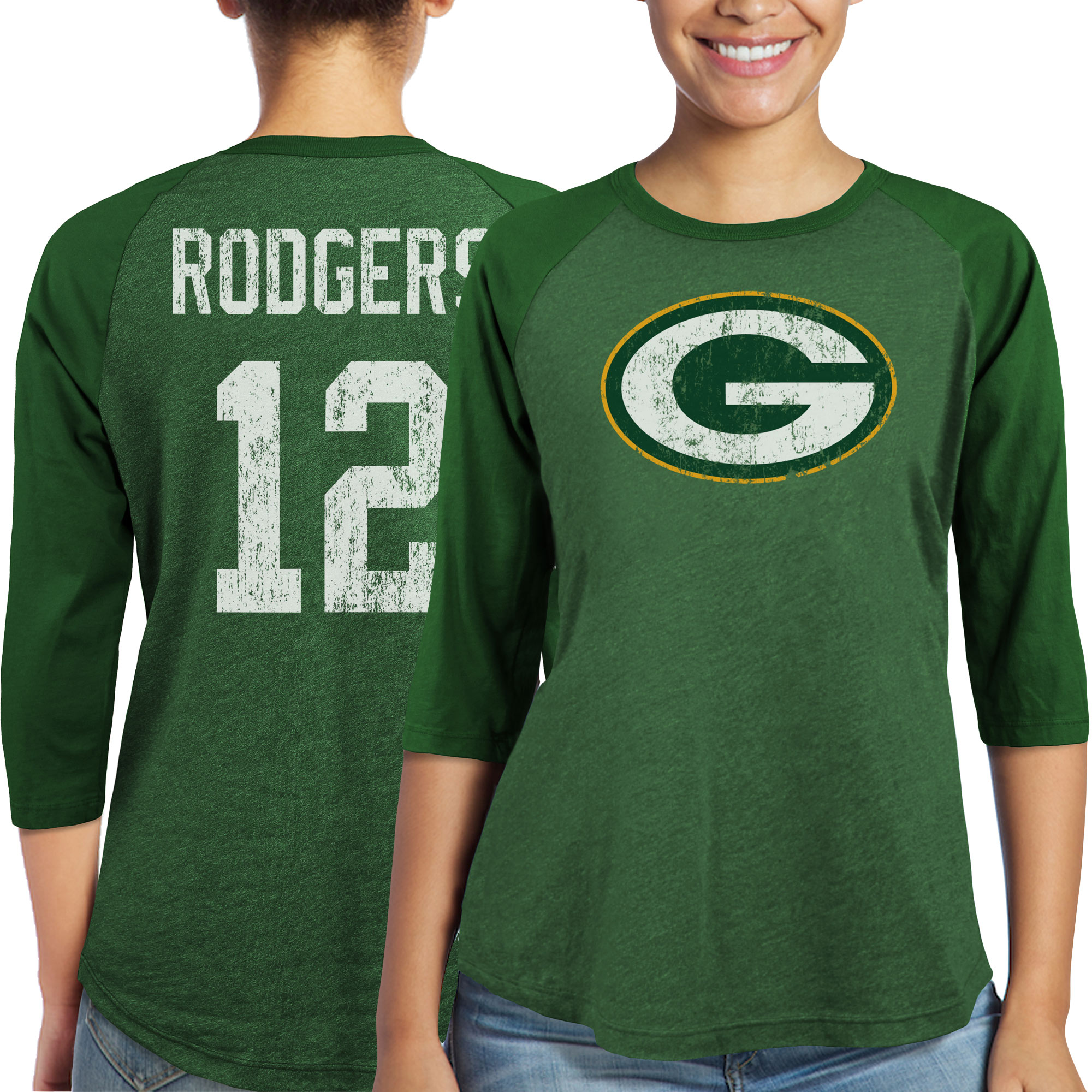 Aaron Rodgers Green Bay Packers Majestic Women's Player Name & Number Tri-Blend Three-Quarter Sleeve T-Shirt - Green