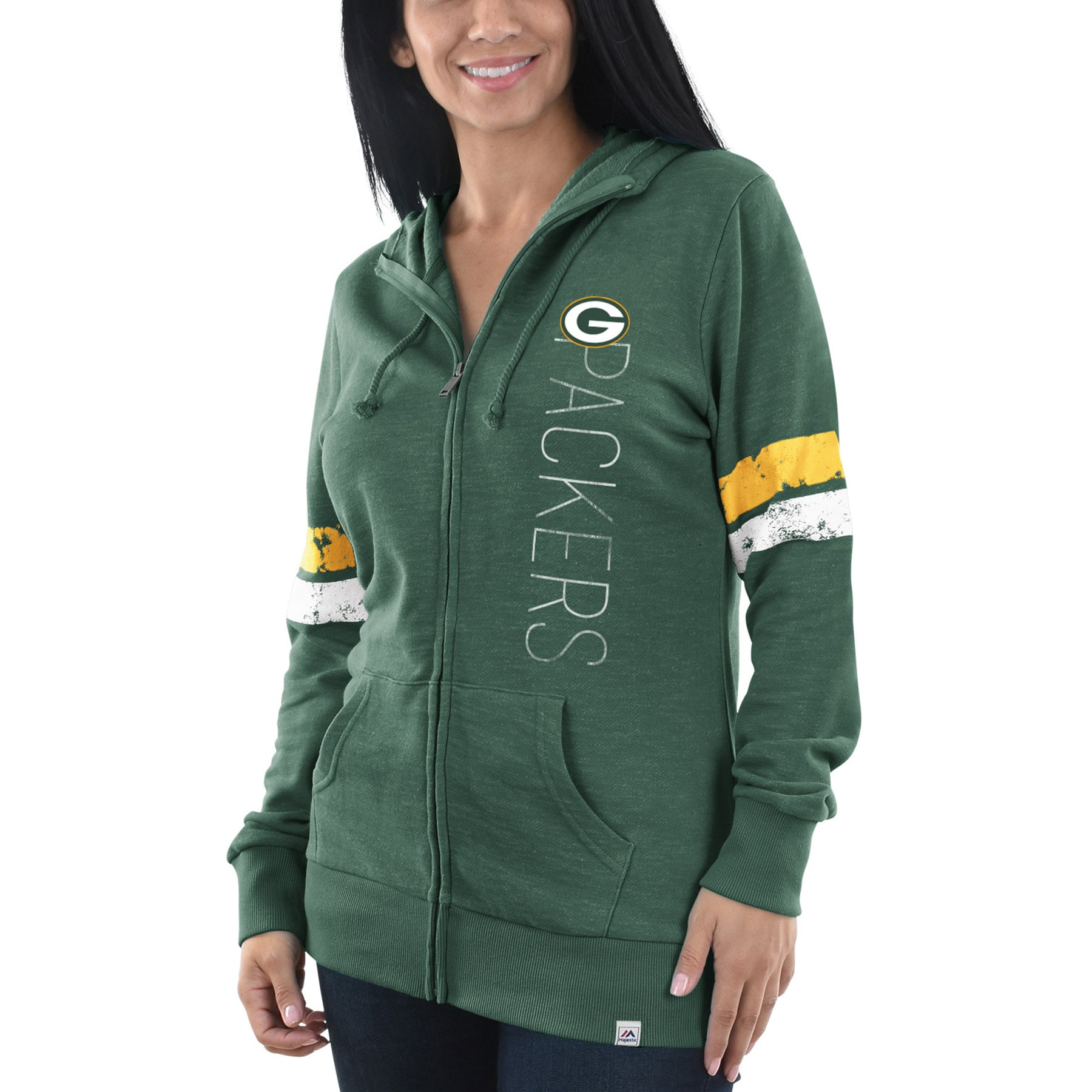 Green Bay Packers Majestic Women's Athletic Tradition Full-Zip Hoodie - Heathered Green