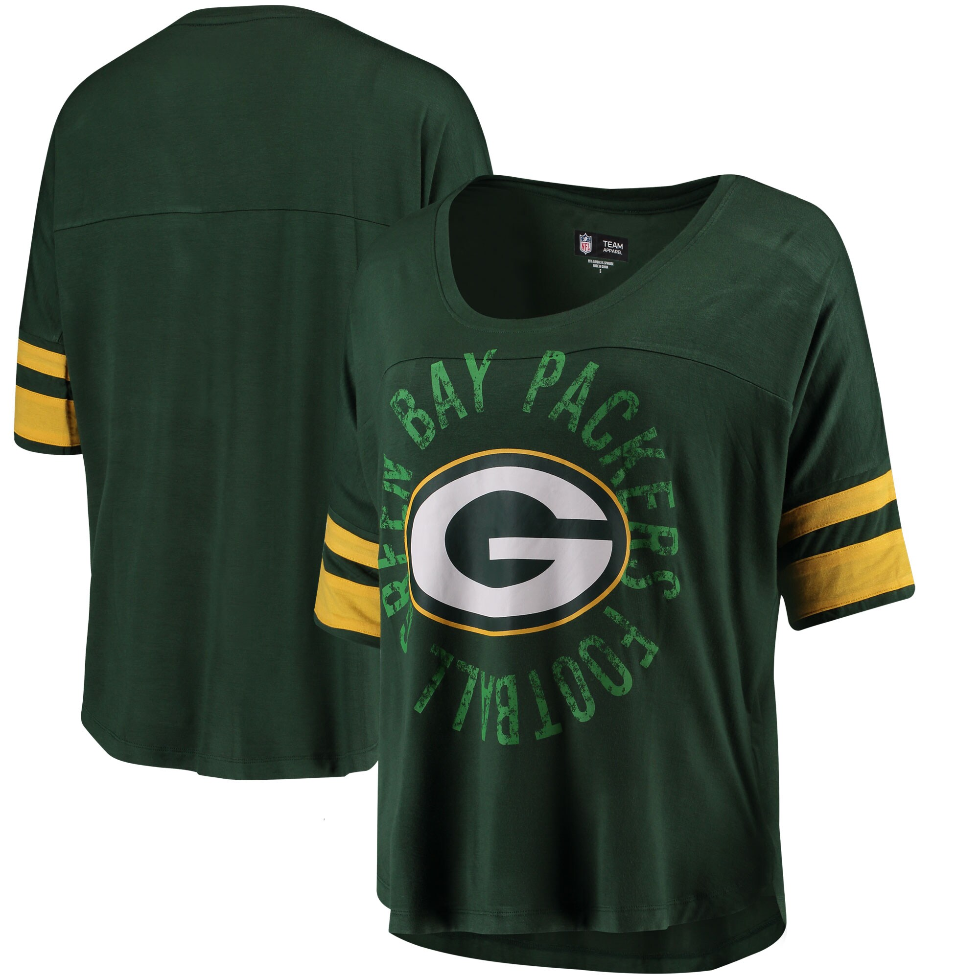 Green Bay Packers 5th & Ocean by New Era Women's Novelty Dolman Sleeve Scoop Neck T-Shirt - Green