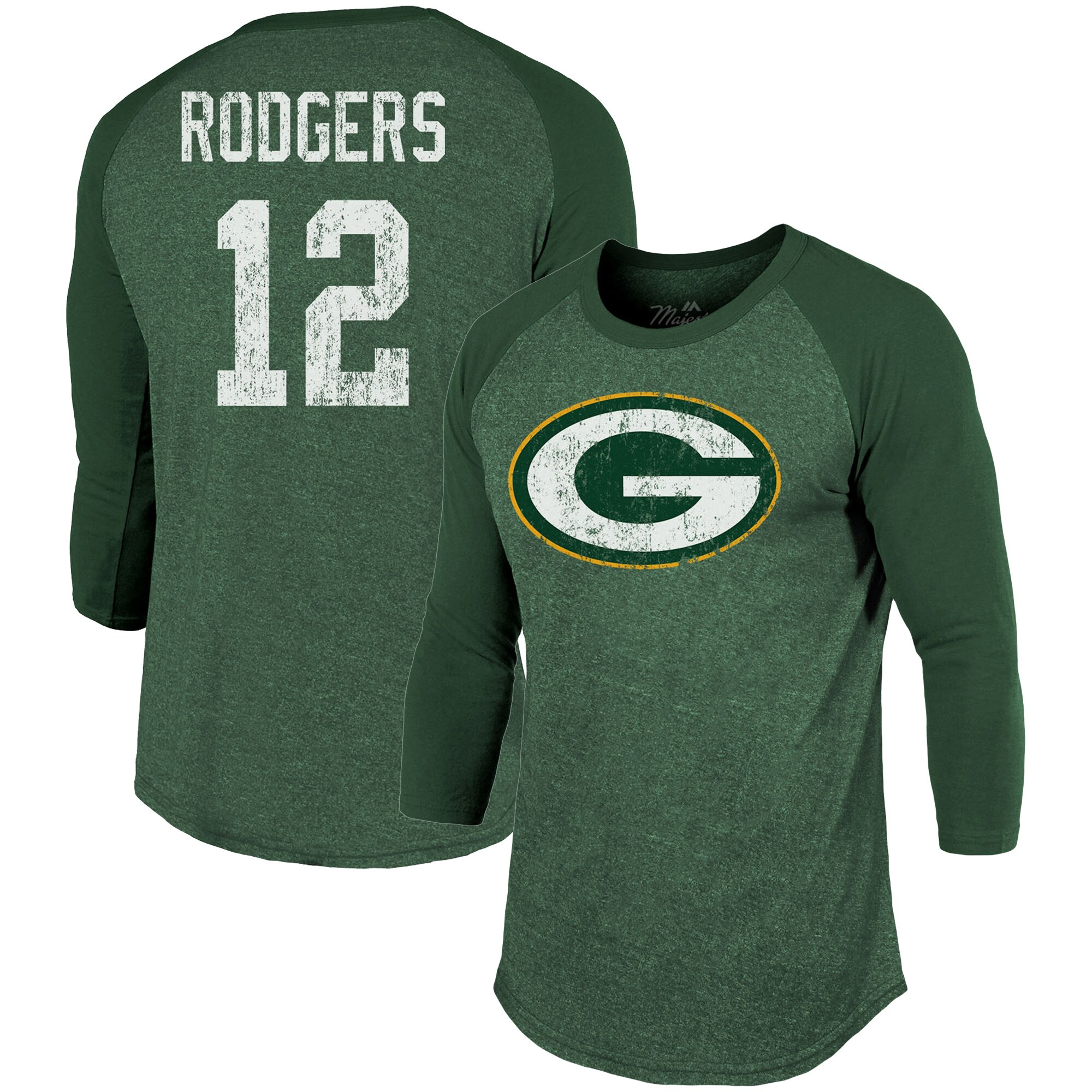 Aaron Rodgers Green Bay Packers Majestic Threads Player Name & Number Tri-Blend 3/4-Sleeve Raglan T-Shirt - Green