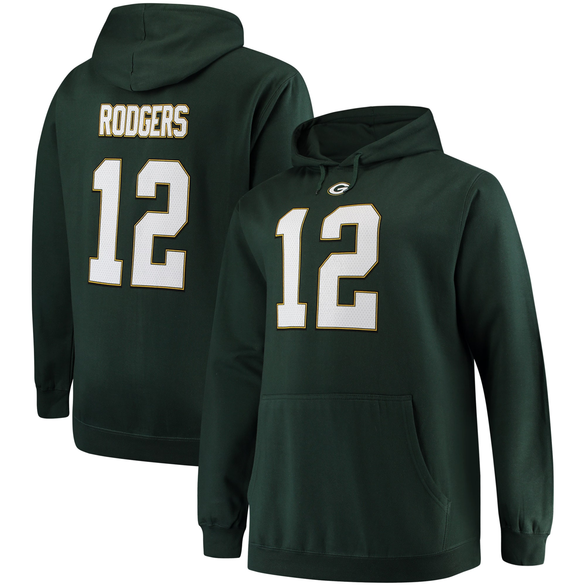 Aaron Rodgers Green Bay Packers Majestic Big & Tall Name & Number Pullover Hoodie - Green