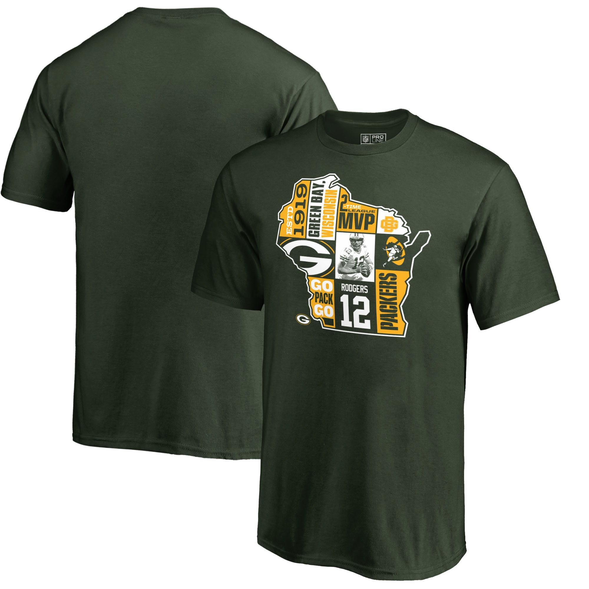 Aaron Rodgers Green Bay Packers NFL Pro Line by Fanatics Branded Youth Player State T-Shirt - Green