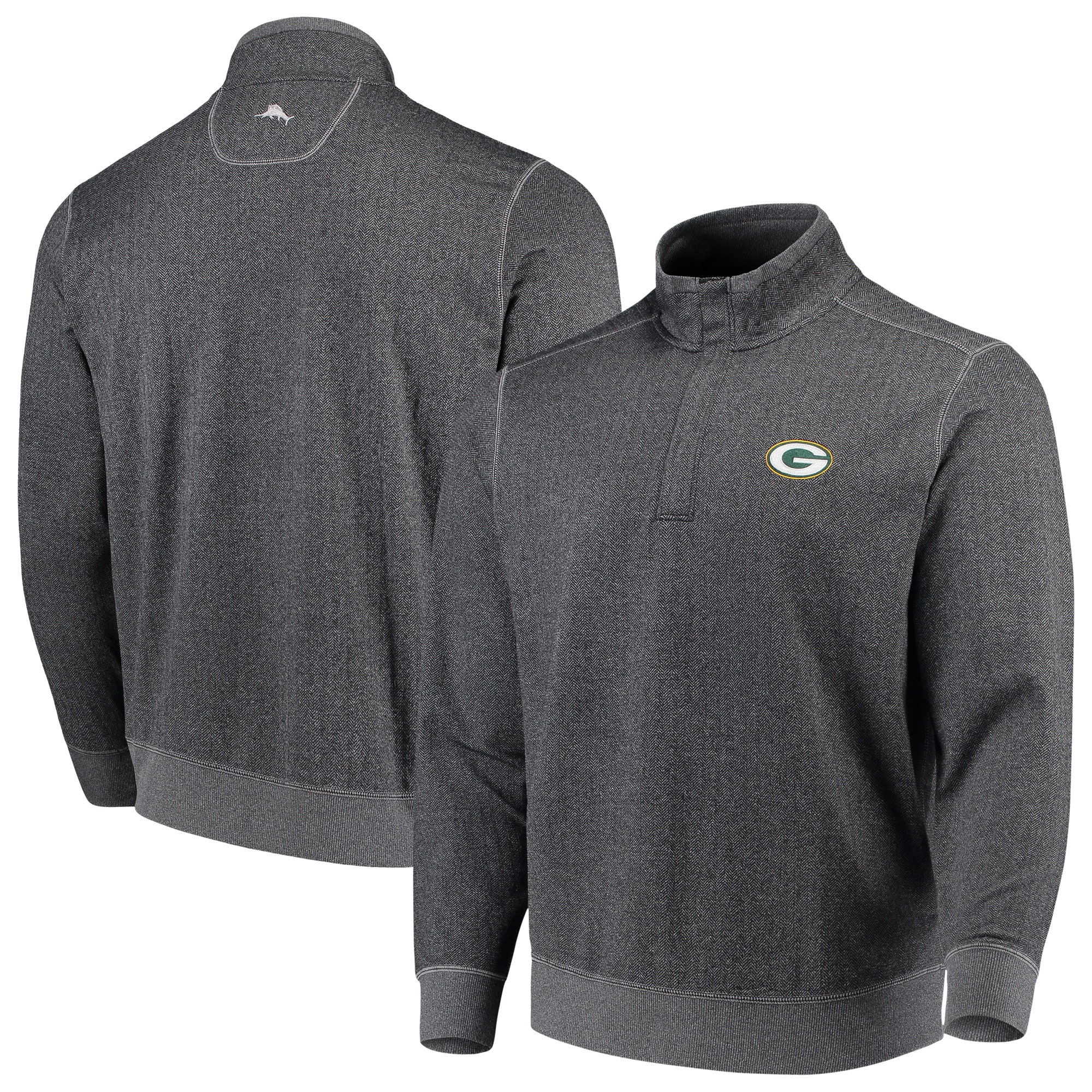 Green Bay Packers Tommy Bahama ProFormance Half-Zip Pullover Jacket - Heathered Charcoal