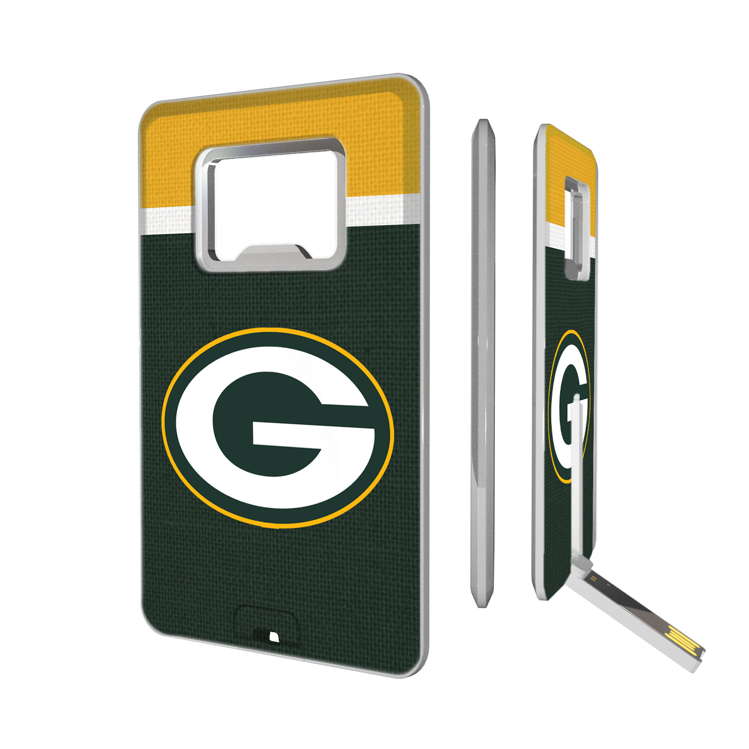 Green Bay Packers Striped Credit Card USB Drive & Bottle Opener