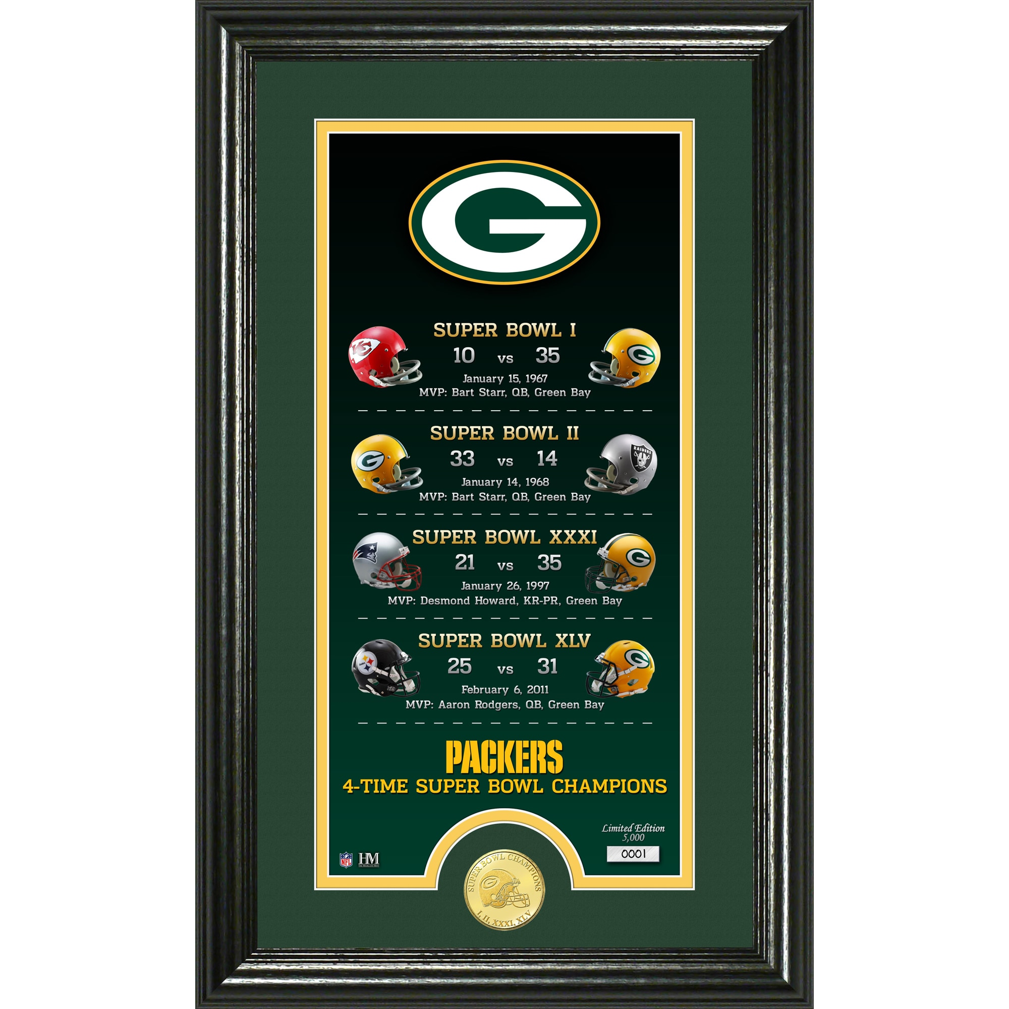 Green Bay Packers Highland Mint 12'' x 20'' Legacy Bronze Coin Photo Mint