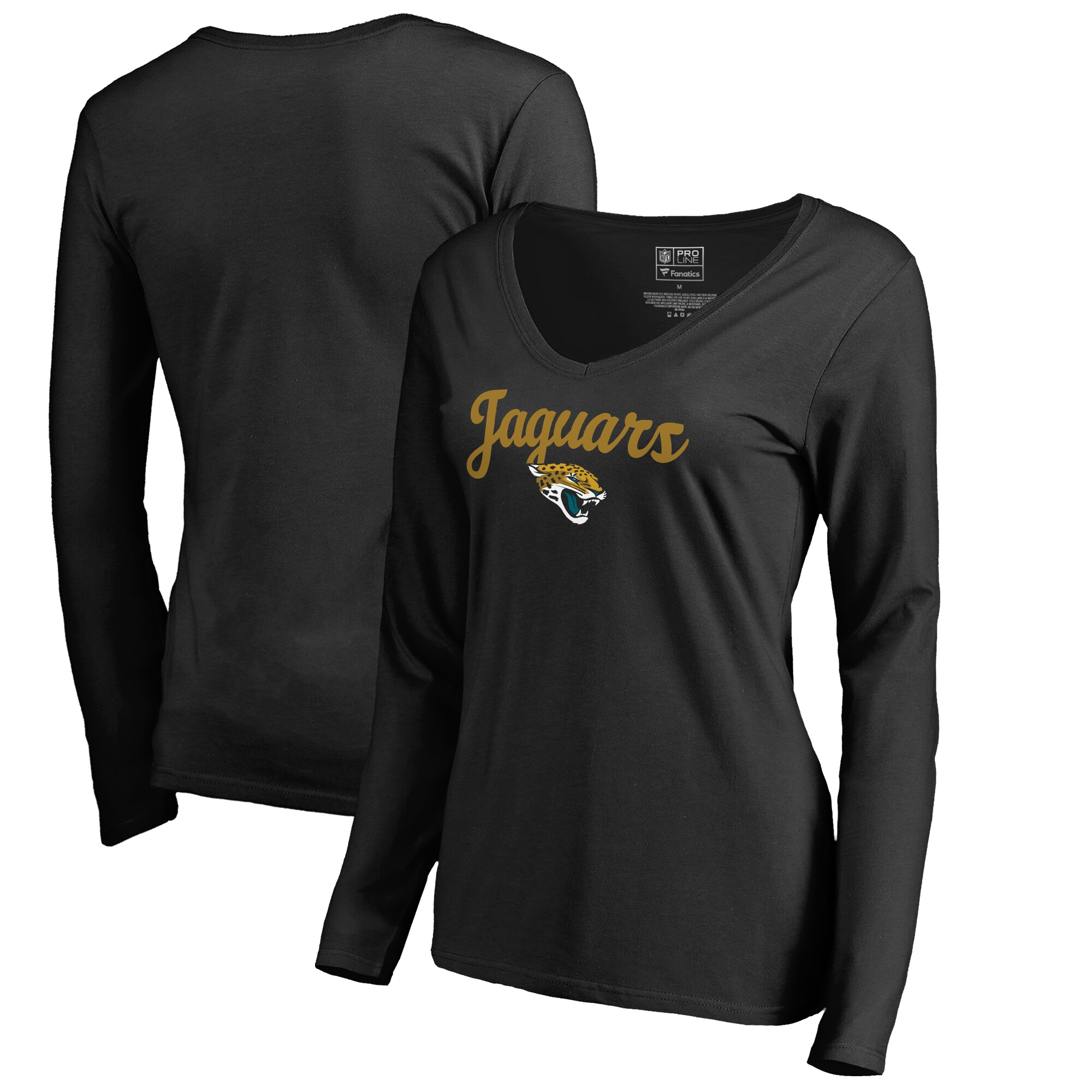 Jacksonville Jaguars NFL Pro Line Women's Freehand V-Neck Long Sleeve T-Shirt - Black