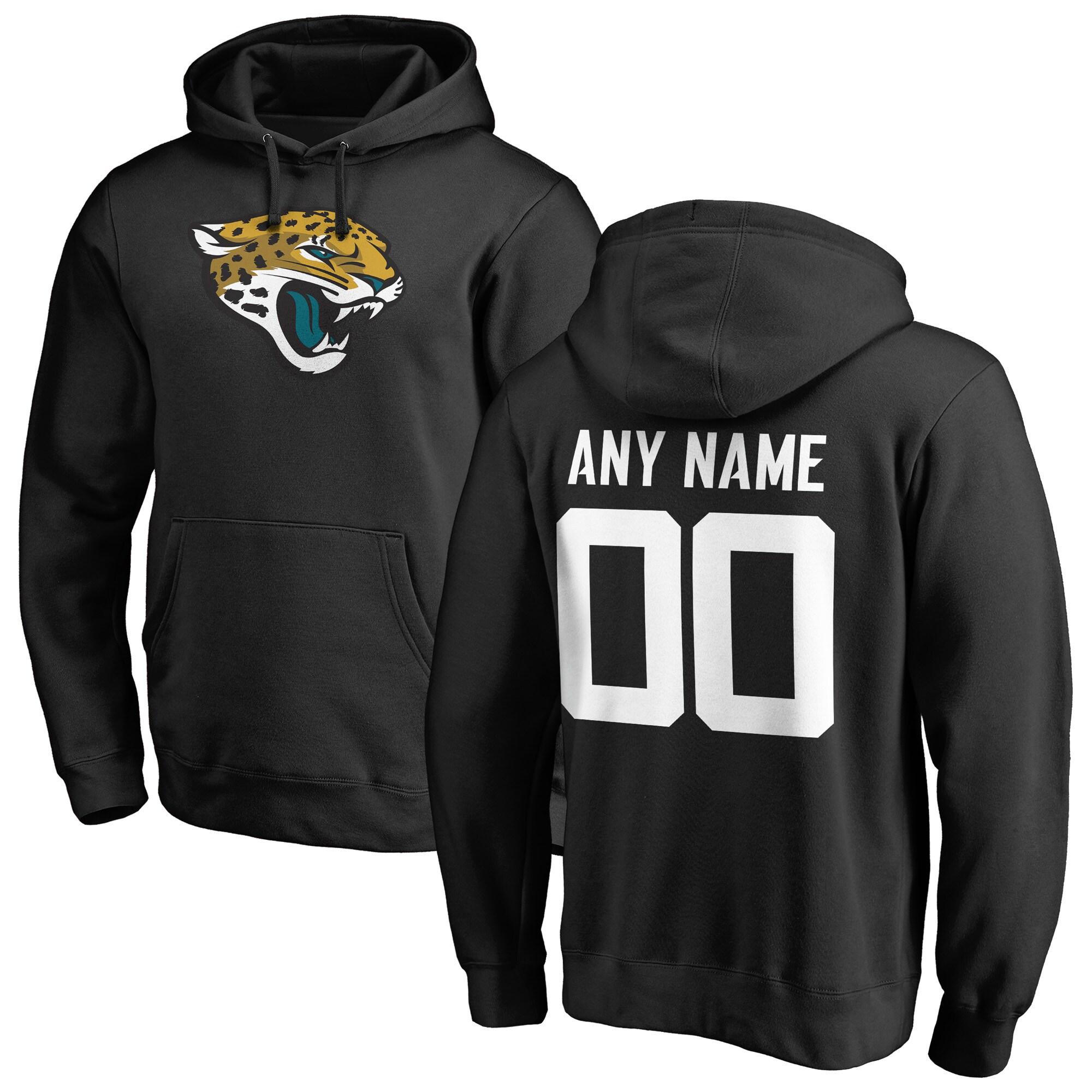 Jacksonville Jaguars NFL Pro Line Any Name & Number Logo Personalized Pullover Hoodie - Black