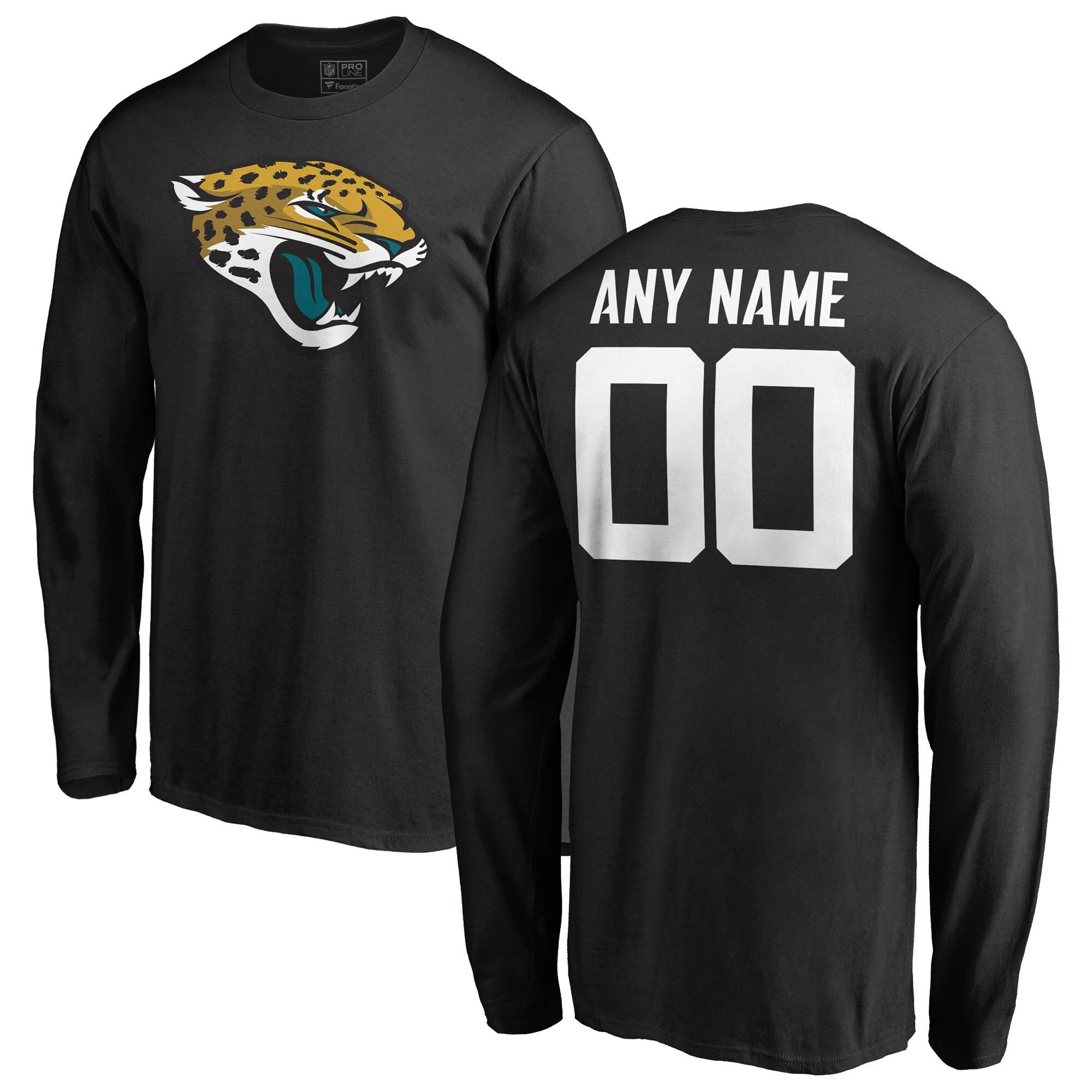 Jacksonville Jaguars NFL Pro Line Any Name & Number Logo Personalized Long Sleeve T-Shirt - Black