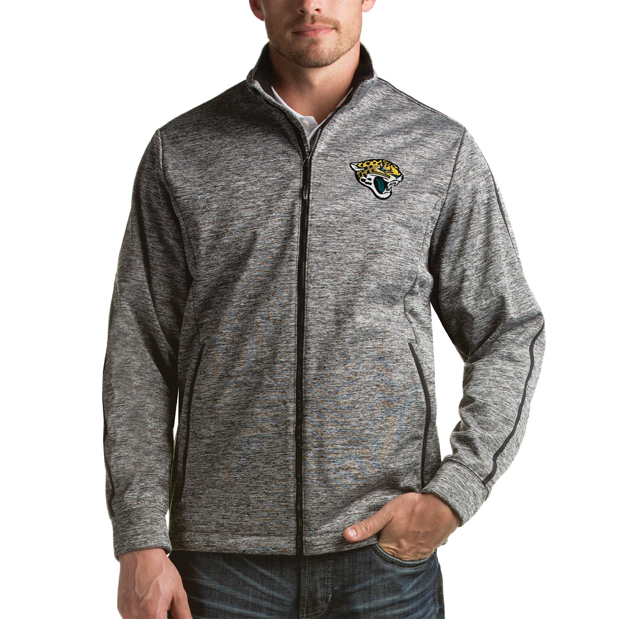 Jacksonville Jaguars Antigua Full-Zip Golf Jacket - Heathered Black