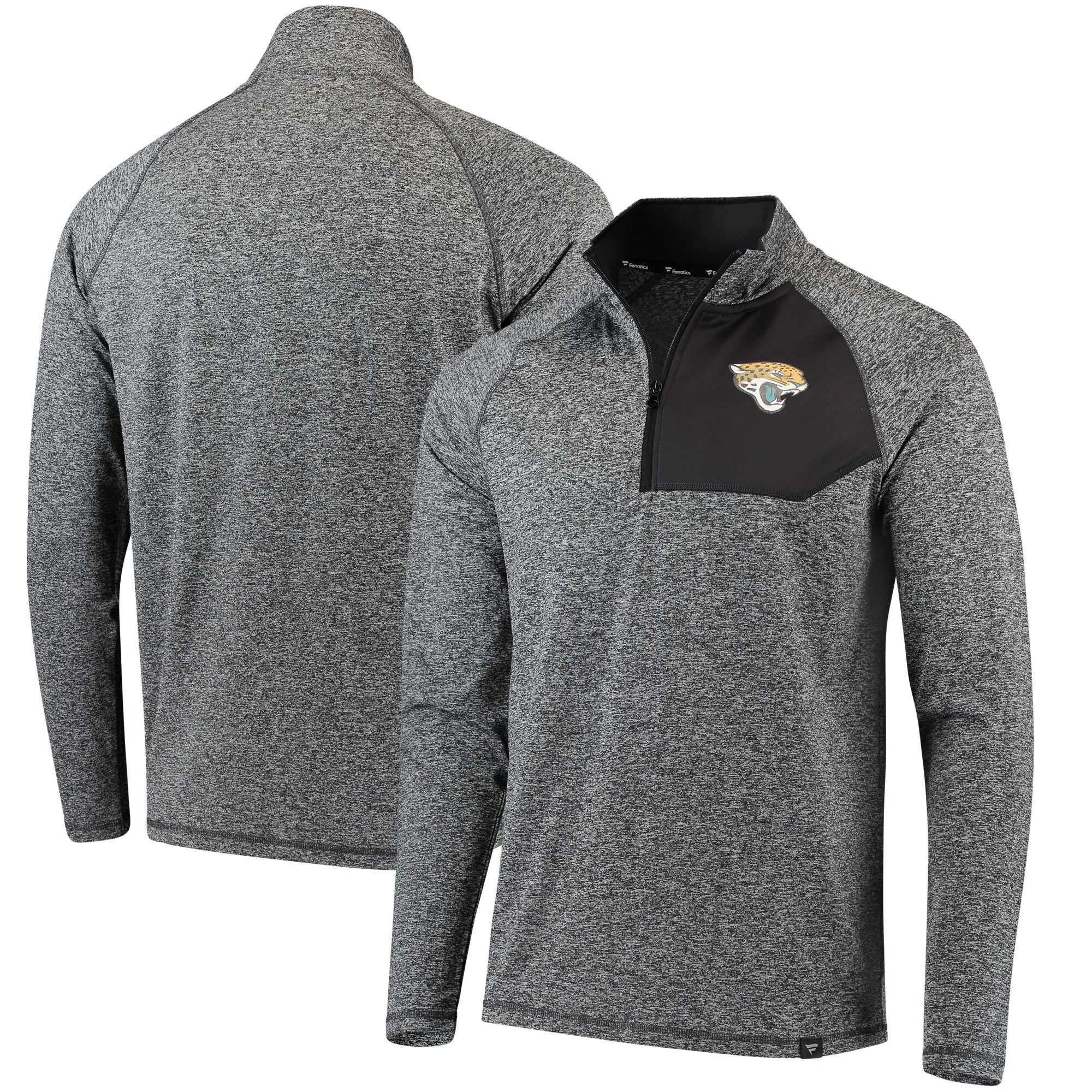 Jacksonville Jaguars NFL Pro Line by Fanatics Branded Static Synthetic Quarter-Zip Pullover Jacket - Heathered Charcoal