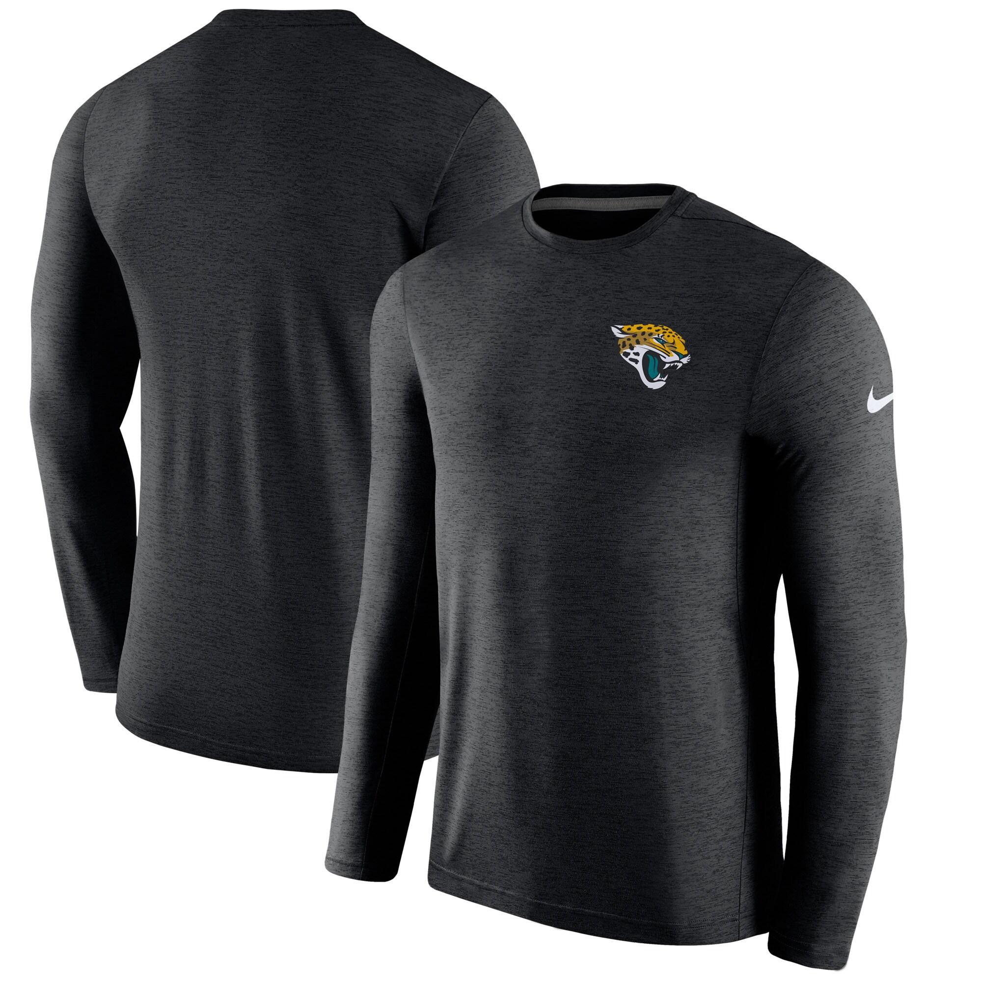 Jacksonville Jaguars Nike Sideline Coaches Long Sleeve Performance T-Shirt - Black