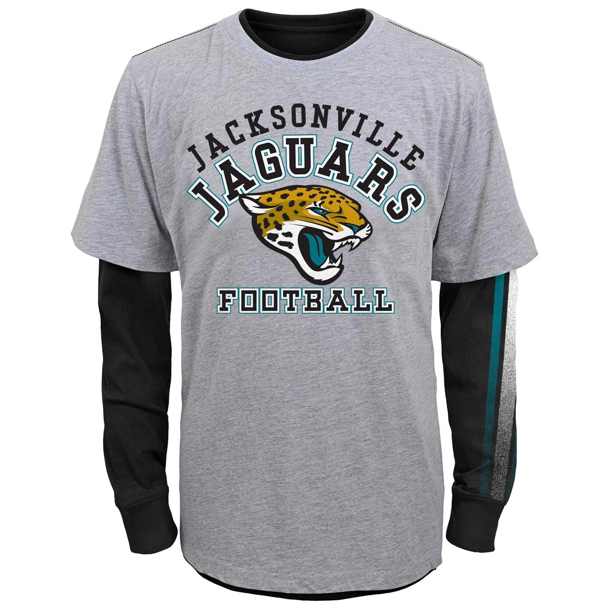 Jacksonville Jaguars Youth Classic Fade Short & Long Sleeve T-Shirt Combo Pack - Gray