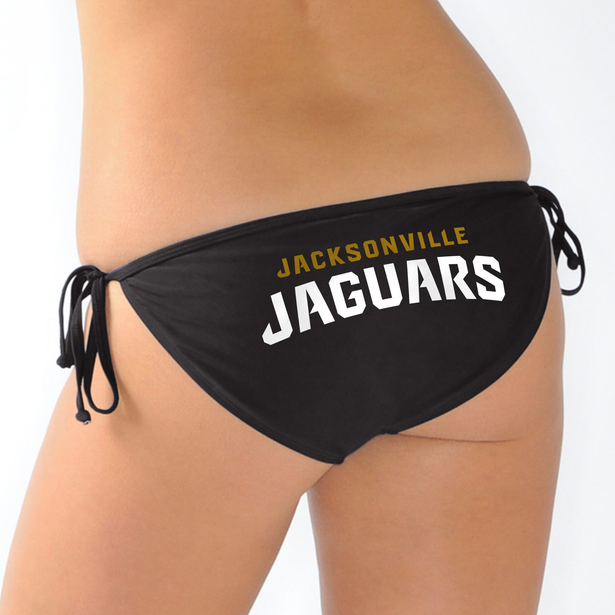 Jacksonville Jaguars G-III 4Her by Carl Banks Women's Trick Play String Bikini Bottom - Black