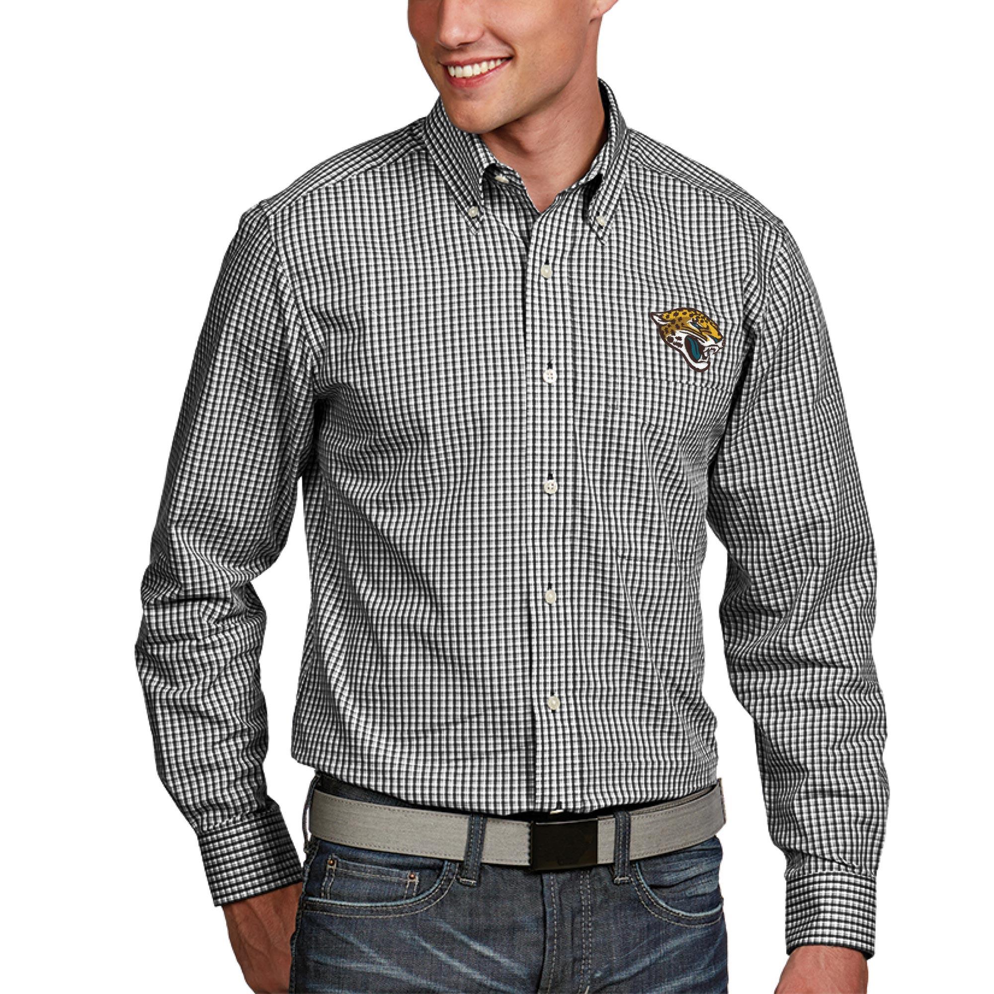 Jacksonville Jaguars Antigua Associate Woven Long Sleeve Button-Down Shirt - Black
