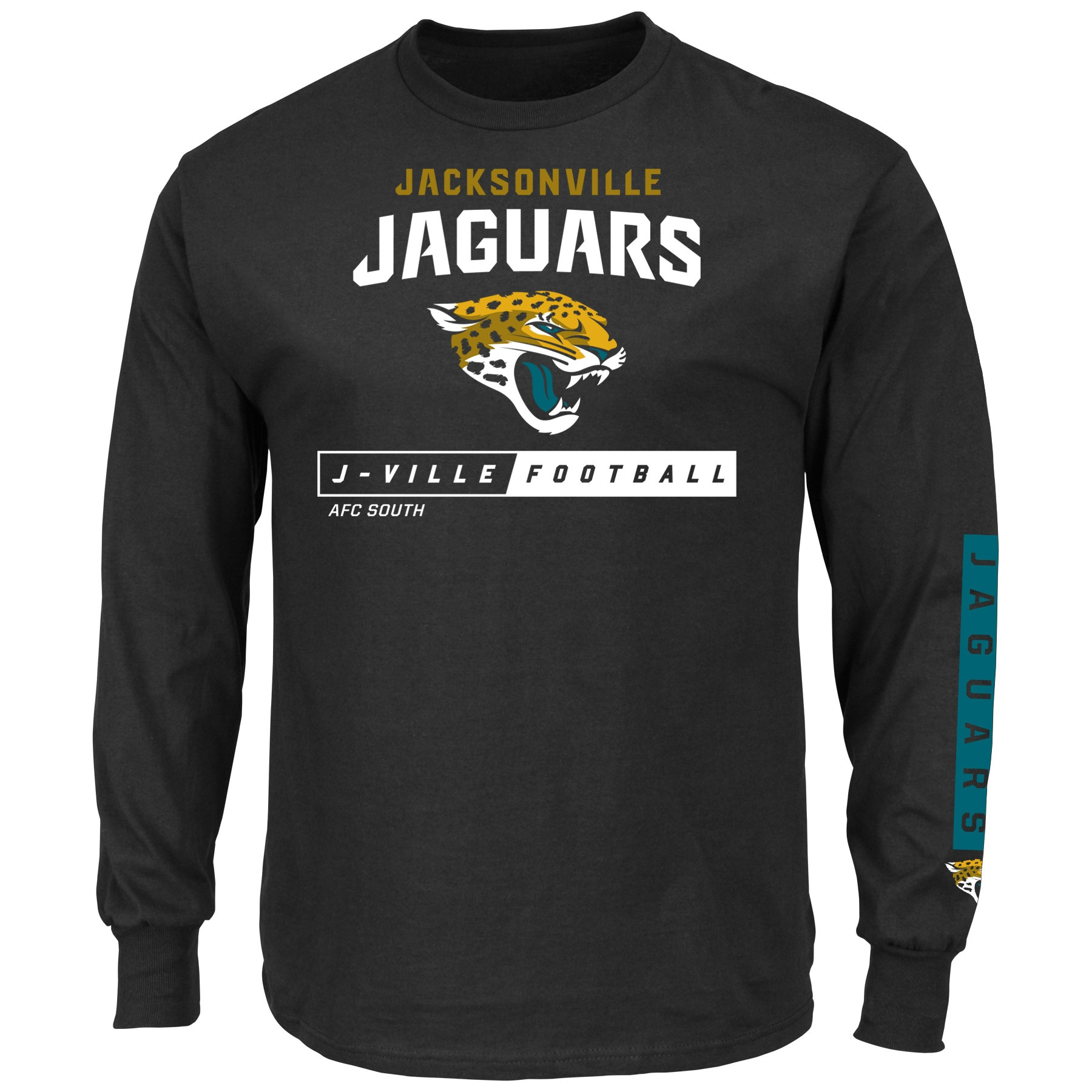 Jacksonville Jaguars Majestic Big & Tall Primary Receiver Long Sleeve T-Shirt - Black