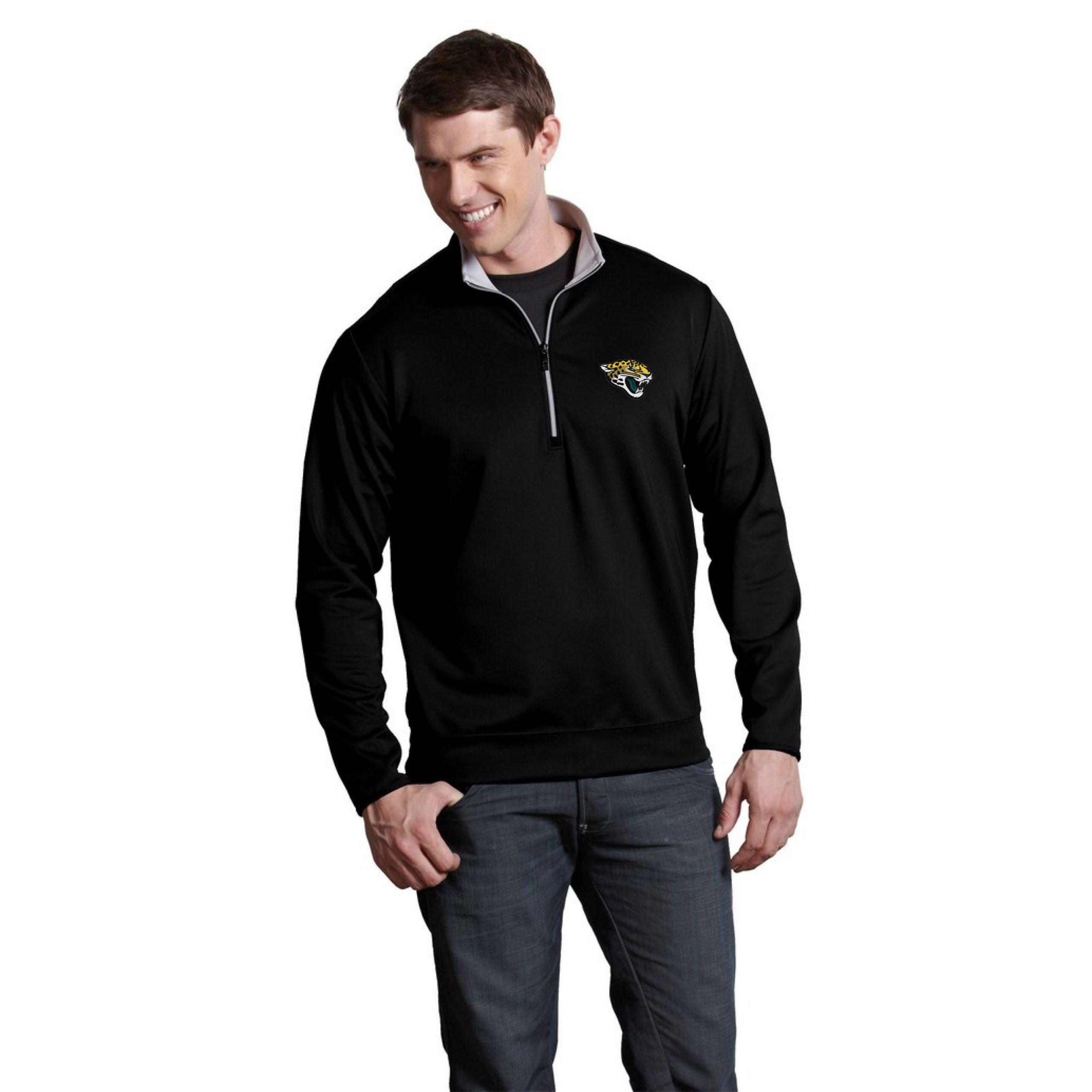Jacksonville Jaguars Antigua Leader Quarter-Zip Pullover Jacket - Black