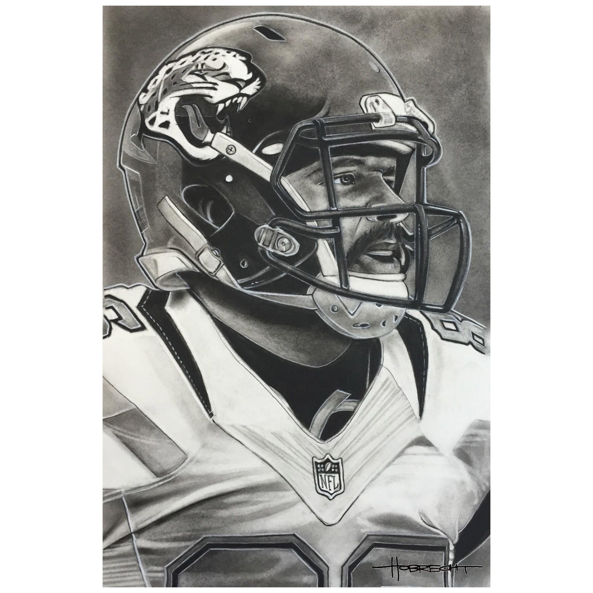 "Jacksonville Jaguars Deacon Jones Foundation 14"" x 9"" Helmet Series Fine Art Giclée Canvas"
