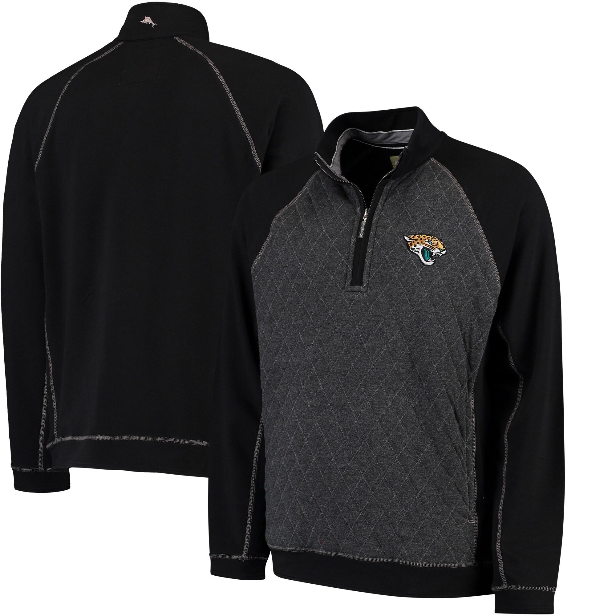 Jacksonville Jaguars Tommy Bahama Gridiron Half-Zip Sweater - Black