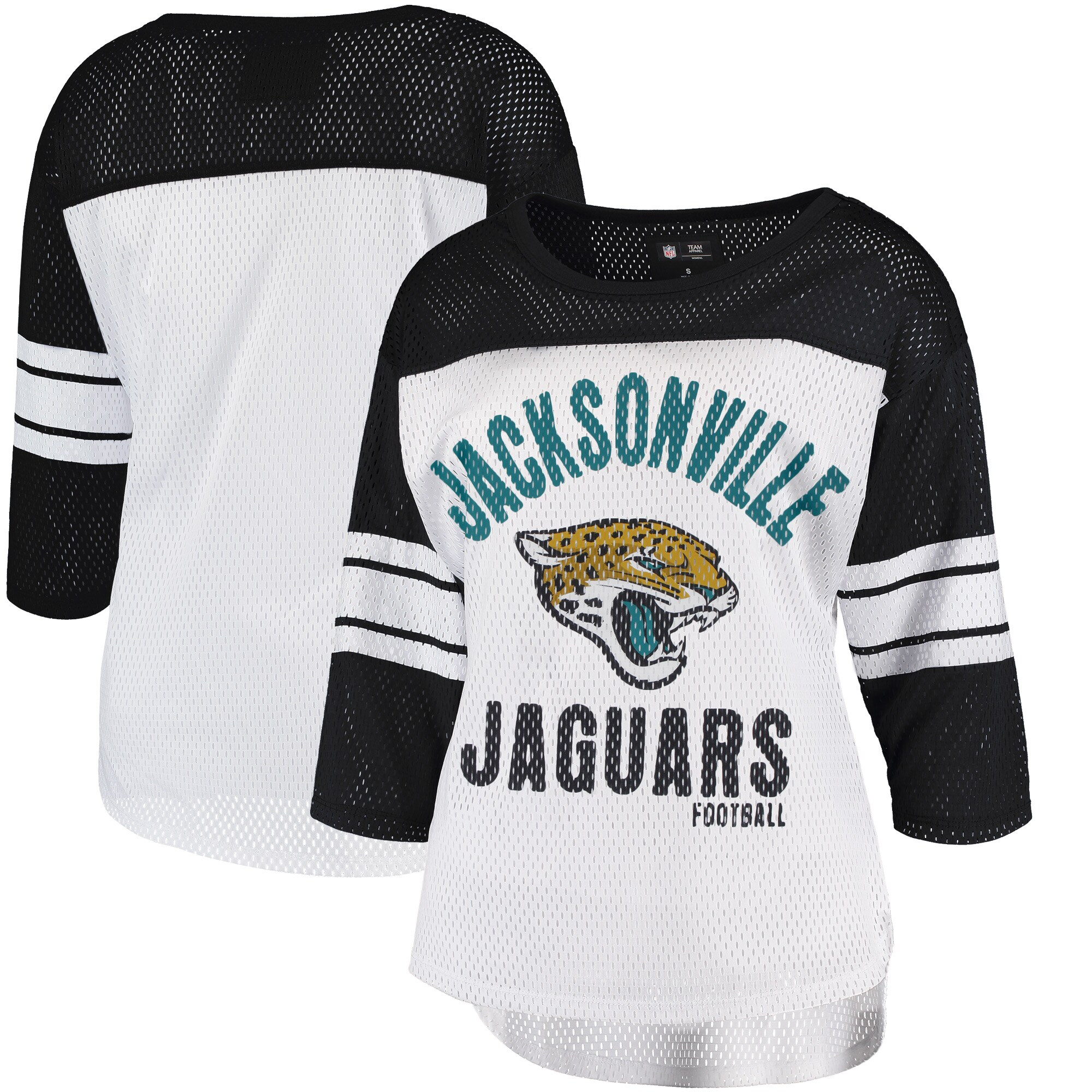 Jacksonville Jaguars G-III 4Her by Carl Banks Women's First Team Three-Quarter Sleeve Mesh T-Shirt - White/Black
