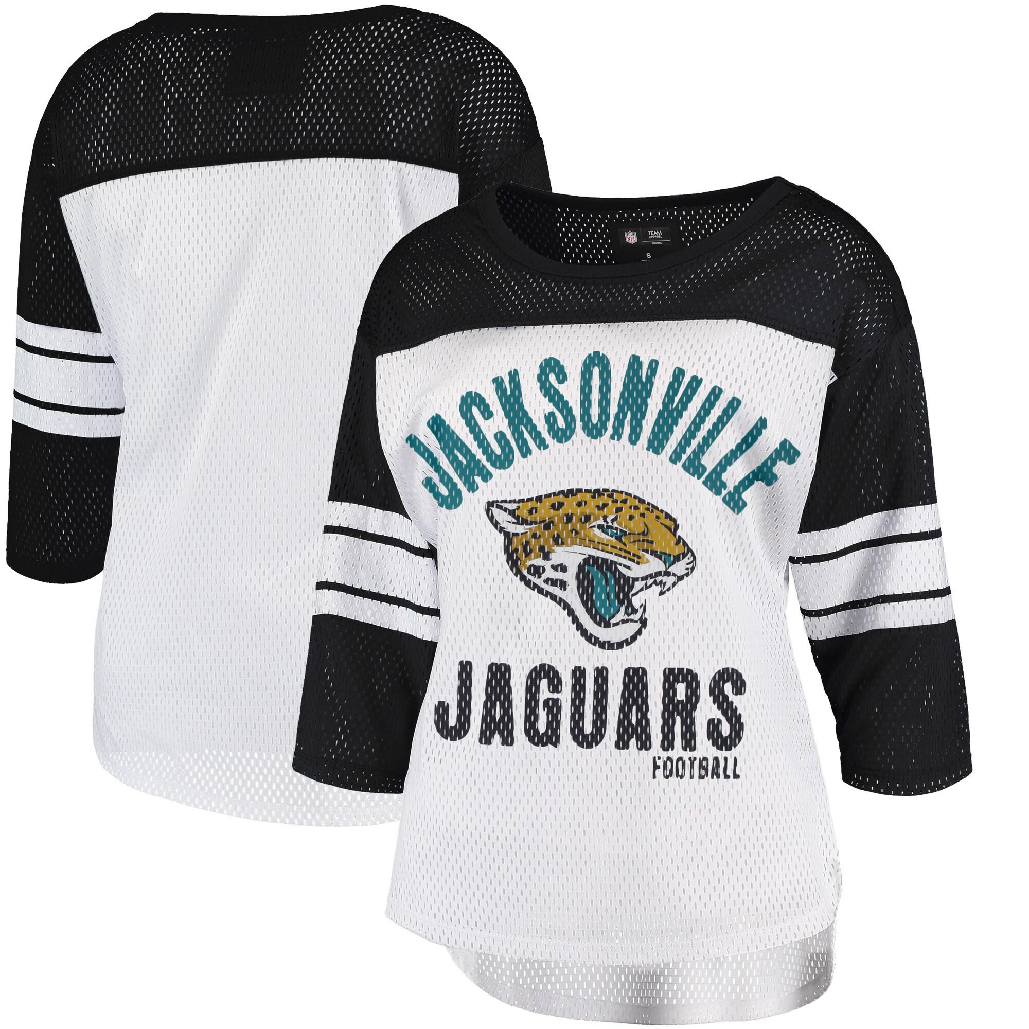 Jacksonville Jaguars G-III 4Her by Carl Banks Women's First Team Three-Quarter Sleeve Mesh T-Shirt - White/Black