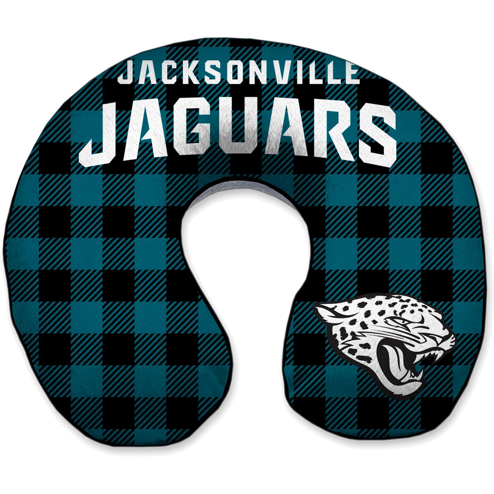 Jacksonville Jaguars Buffalo Check Sherpa Memory Foam Travel Pillow - Green