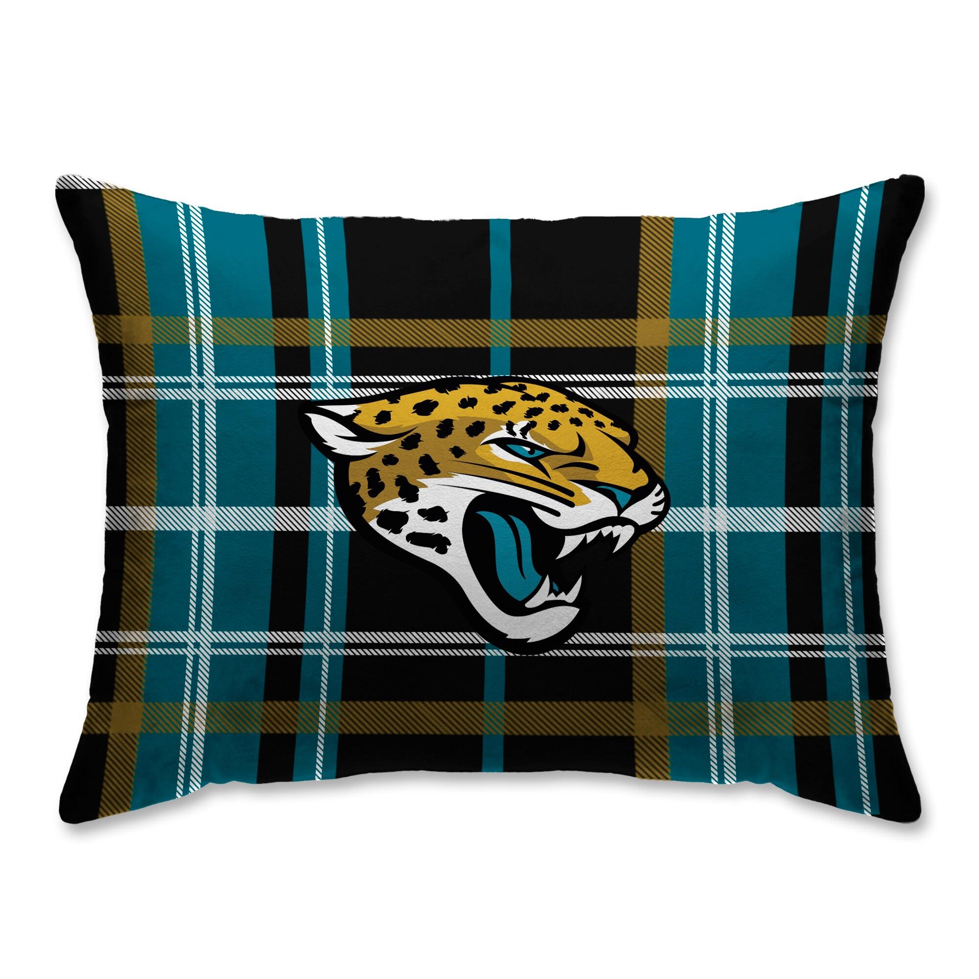 Jacksonville Jaguars Plaid Plush Sherpa Bed Pillow - Green