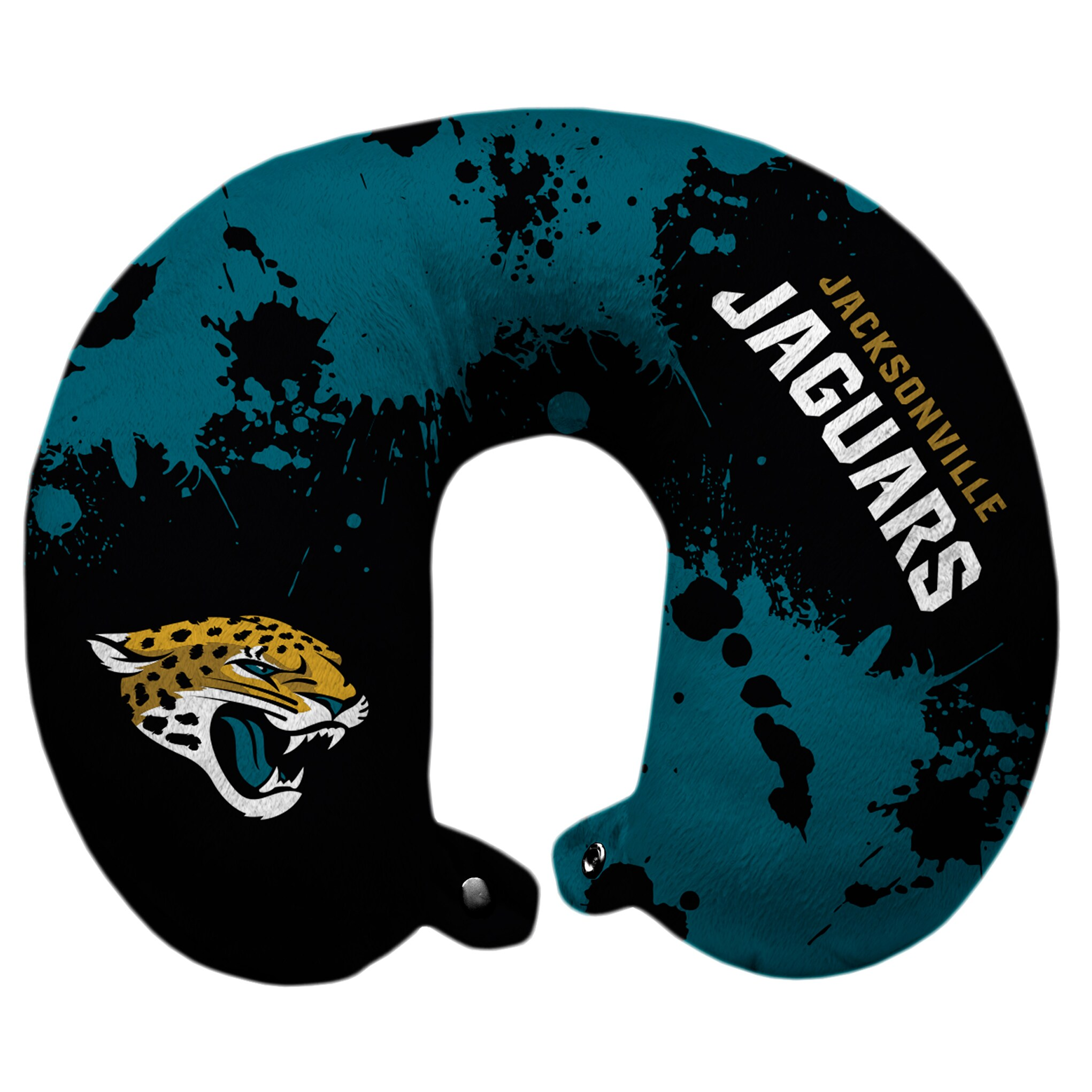 Jacksonville Jaguars Splatter Polyester Snap Closure Travel Pillow - Green