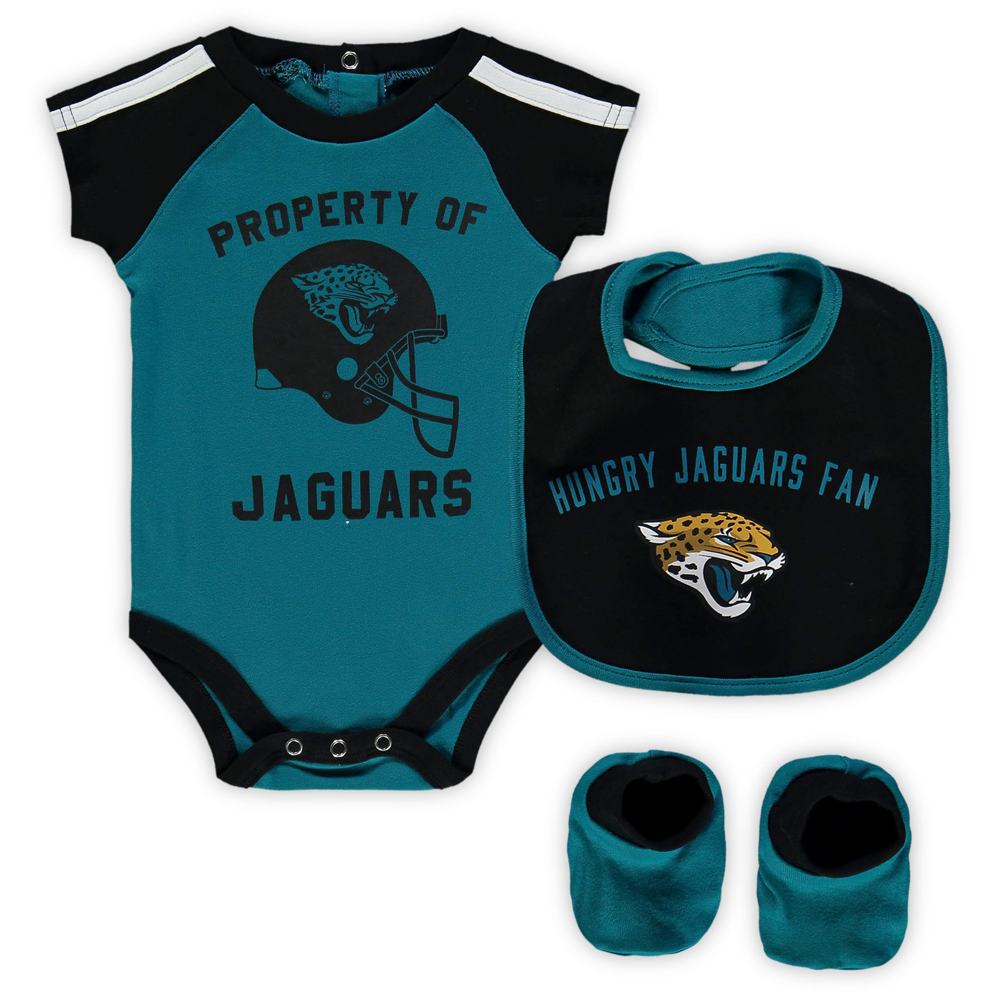 Jacksonville Jaguars Newborn & Infant Tackle Bodysuit, Bib & Booties Set - Teal/Black