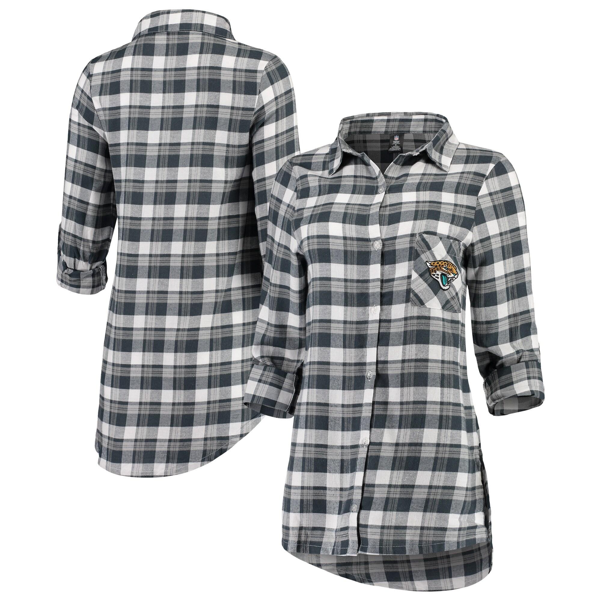 Jacksonville Jaguars Concepts Sport Women's Piedmont Flannel Button-Up Long Sleeve Shirt - Charcoal/Gray
