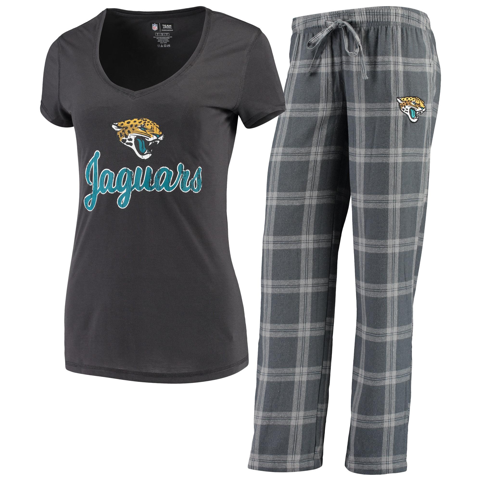 Jacksonville Jaguars Concepts Sport Women's Troupe V-Neck T-Shirt & Pants Sleep Set - Charcoal/Gray