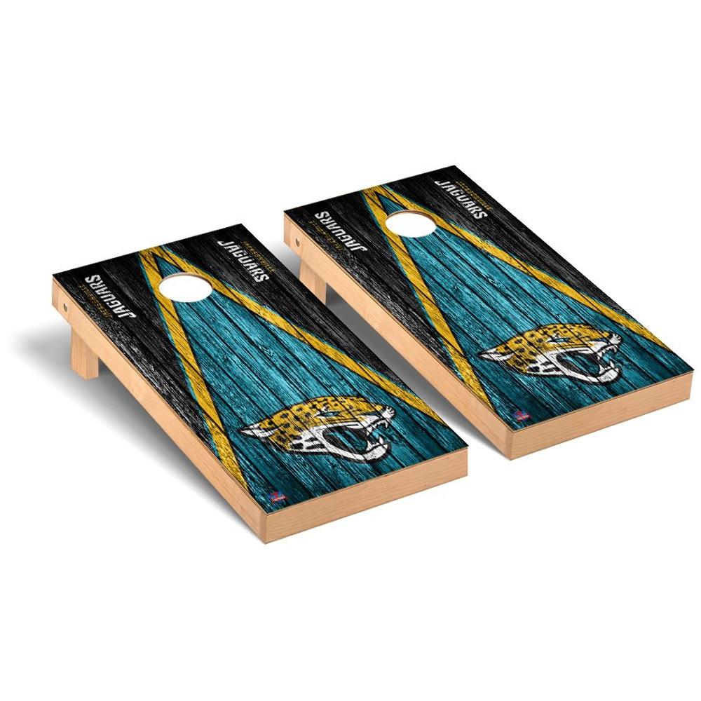Jacksonville Jaguars 2' x 4' Triangle Weathered Regulation Cornhole Board Tailgate Toss Set