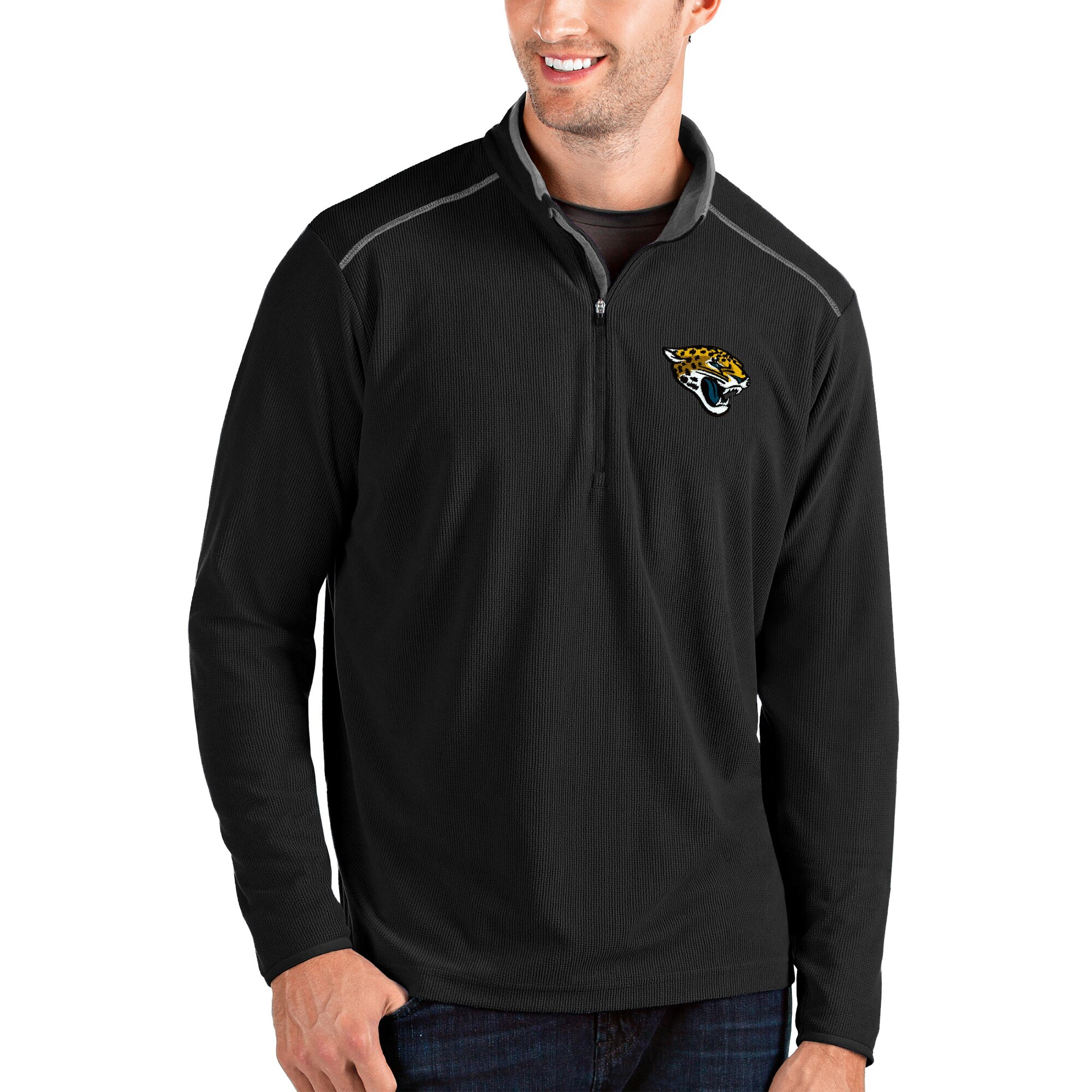 Jacksonville Jaguars Antigua Glacier Quarter-Zip Pullover Jacket - Black/Gray