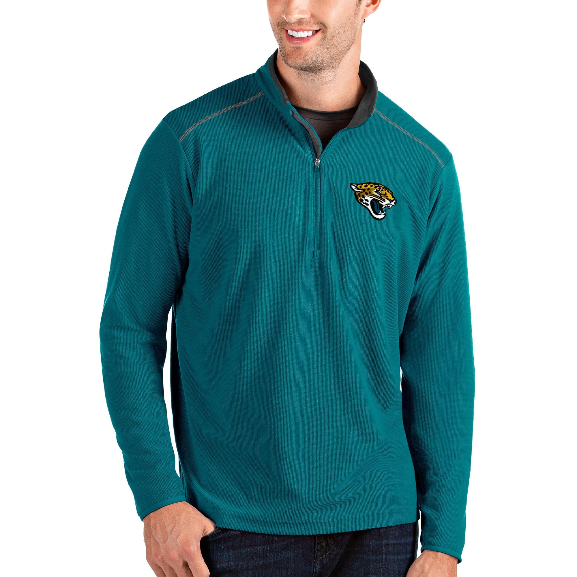 Jacksonville Jaguars Antigua Glacier Quarter-Zip Pullover Jacket - Teal/Gray