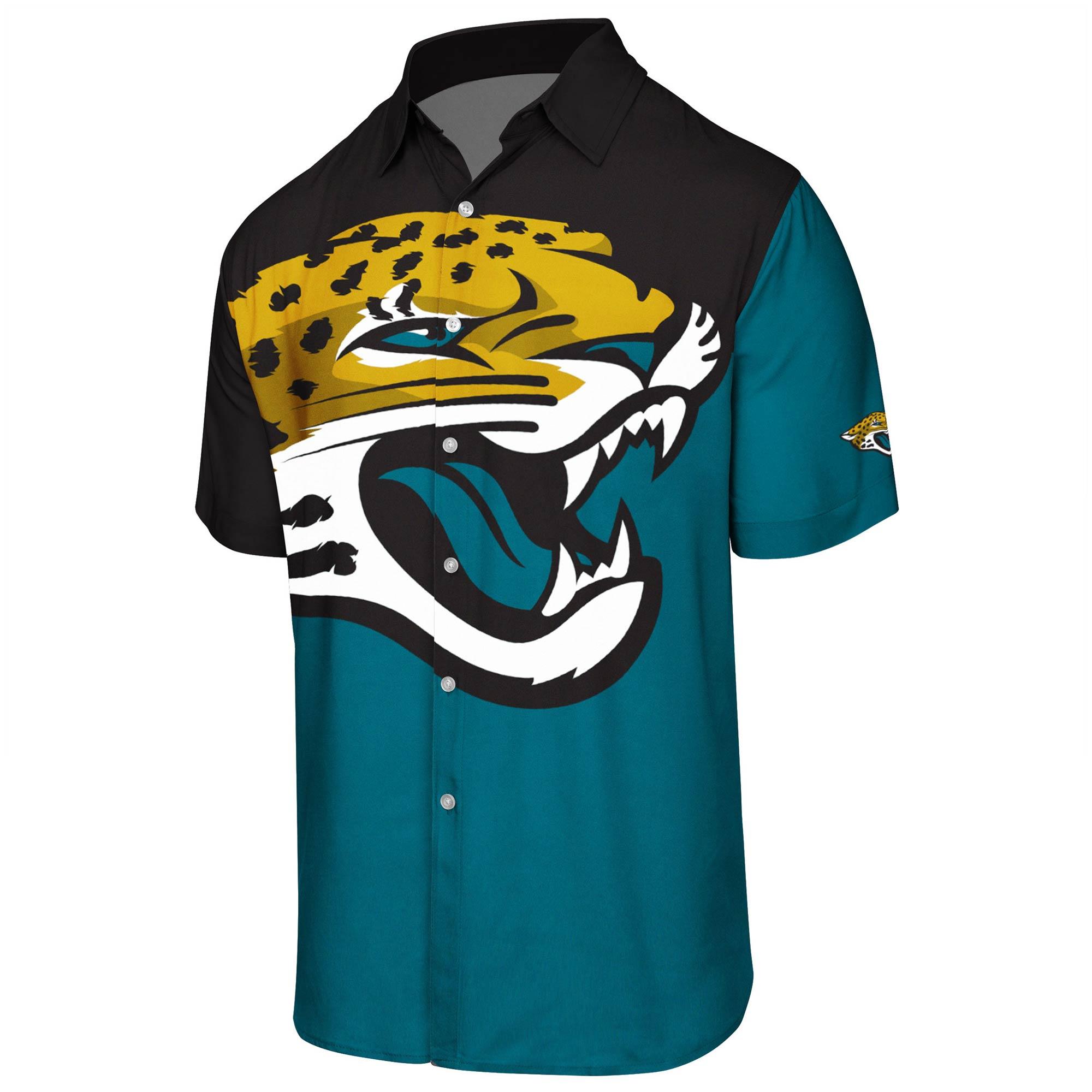 Jacksonville Jaguars Big Logo Button-Up Woven T-Shirt - Teal